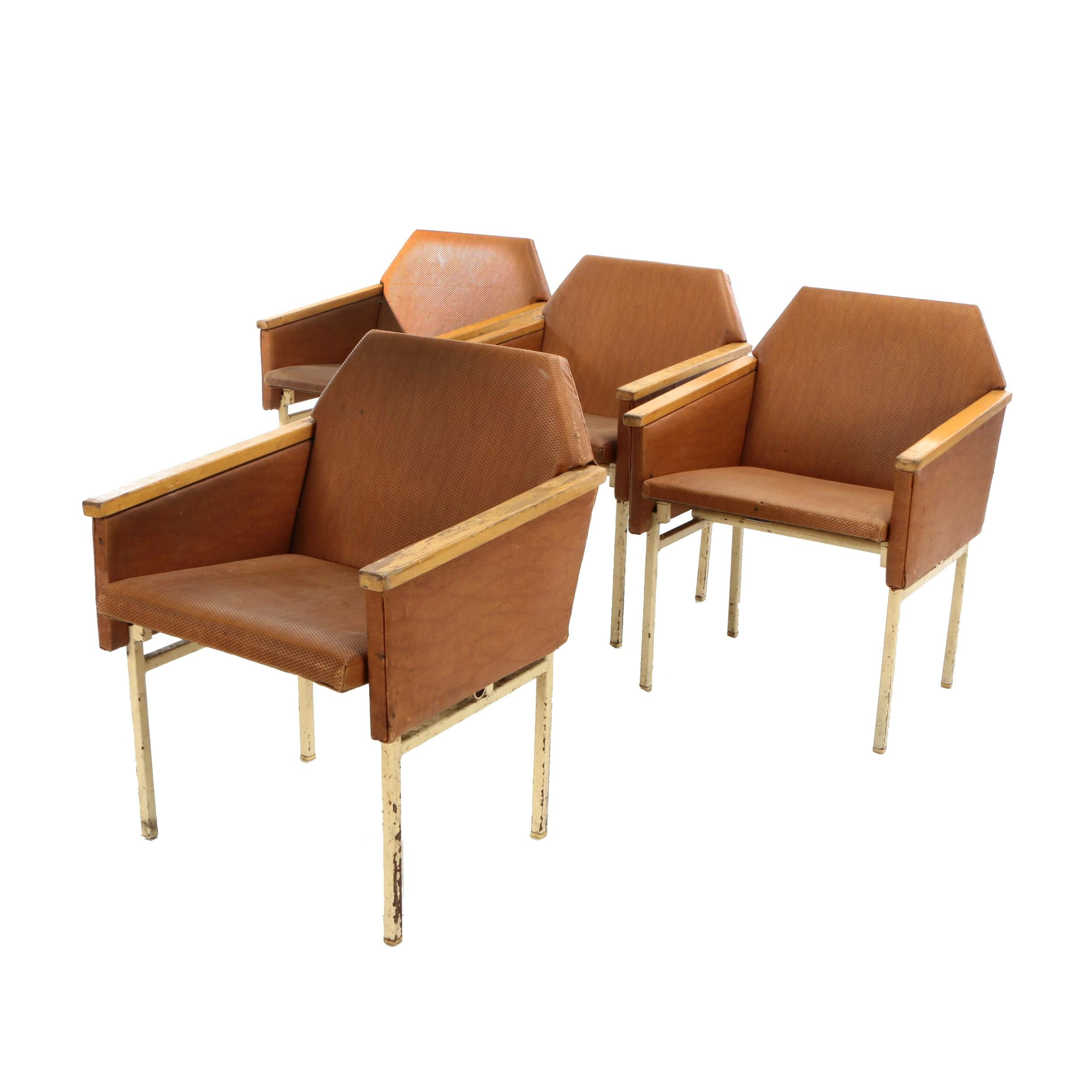 Metal and Wood Frame Upholstered Theater Seats, Mid-20th Century