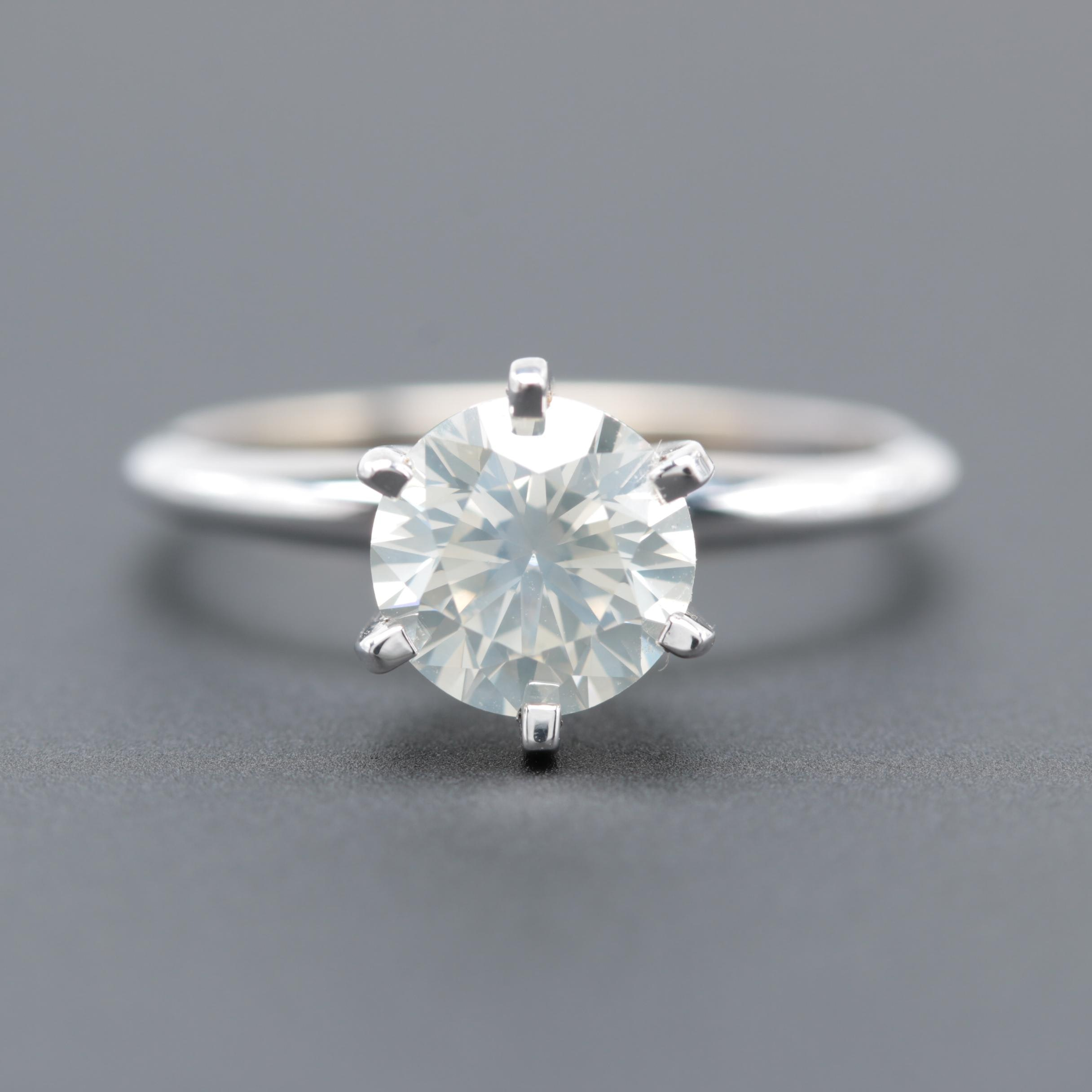 14K White Gold 1.53 CT Diamond Solitaire Ring