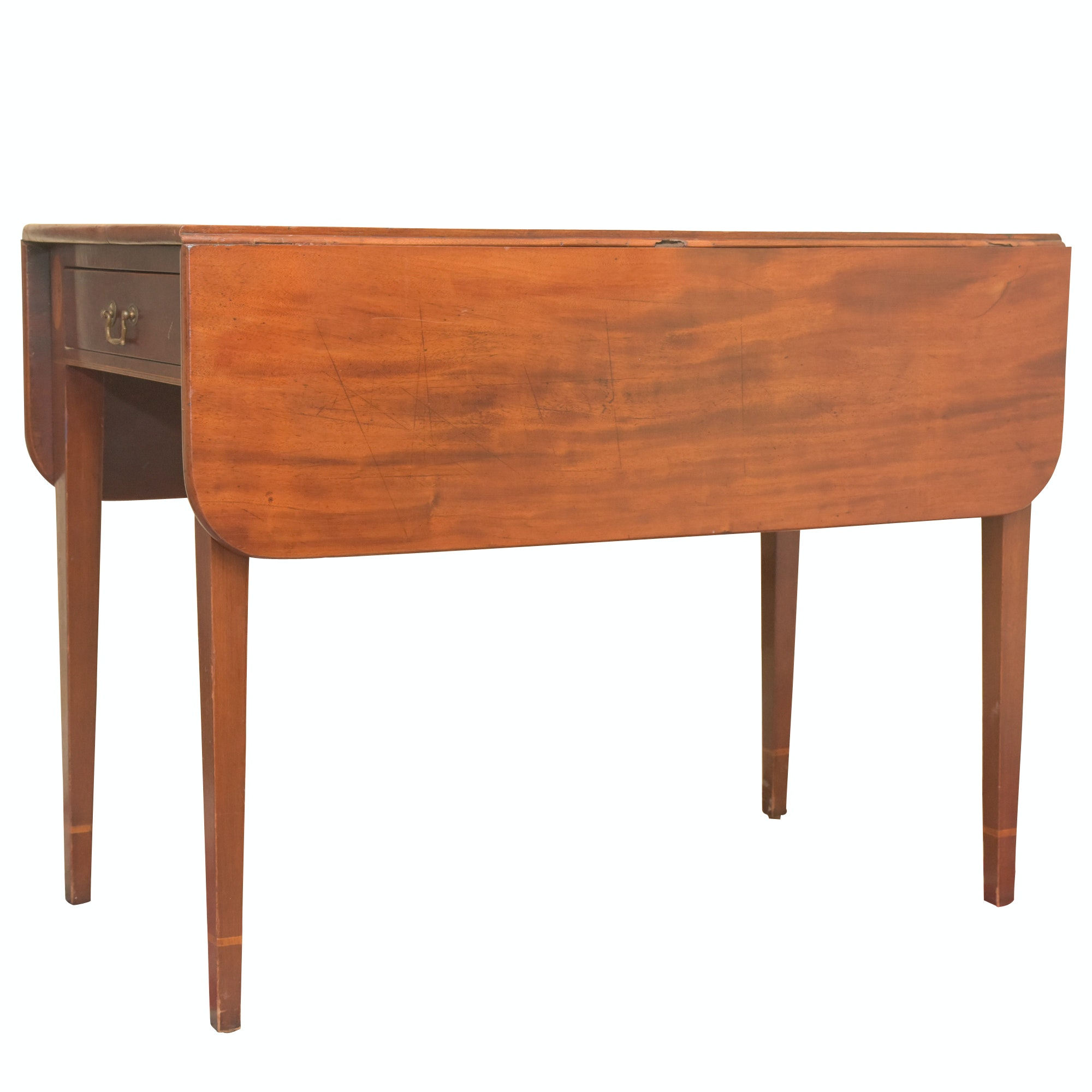 Federal Style String Inlaid Mahogany Drop Leaf Table, Mid 20th Century