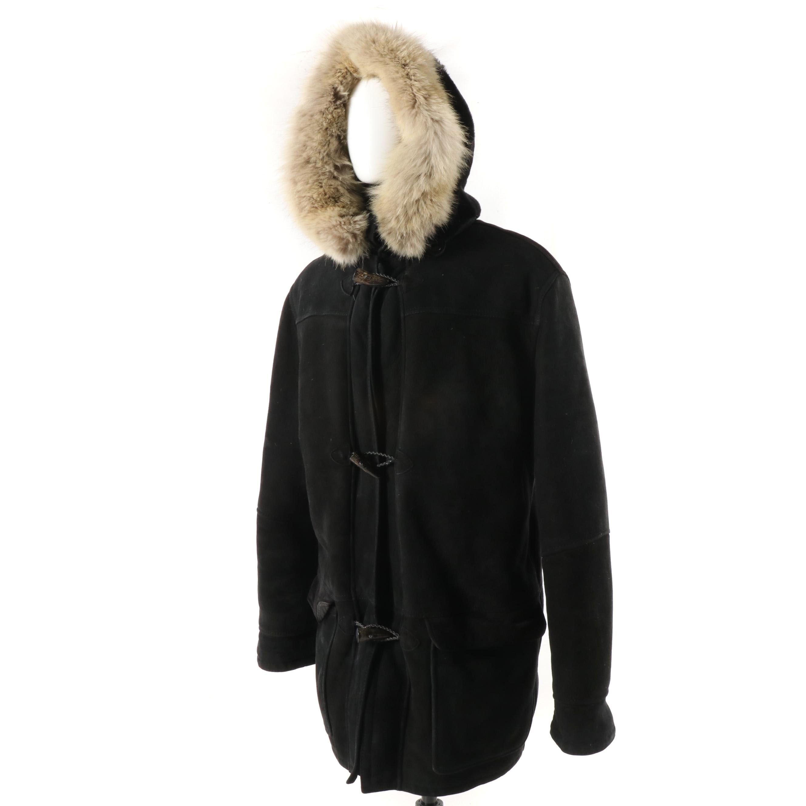 Men's Ardney Black Sheepskin Duffle Coat with Fur Trim Hood and Horn Toggles