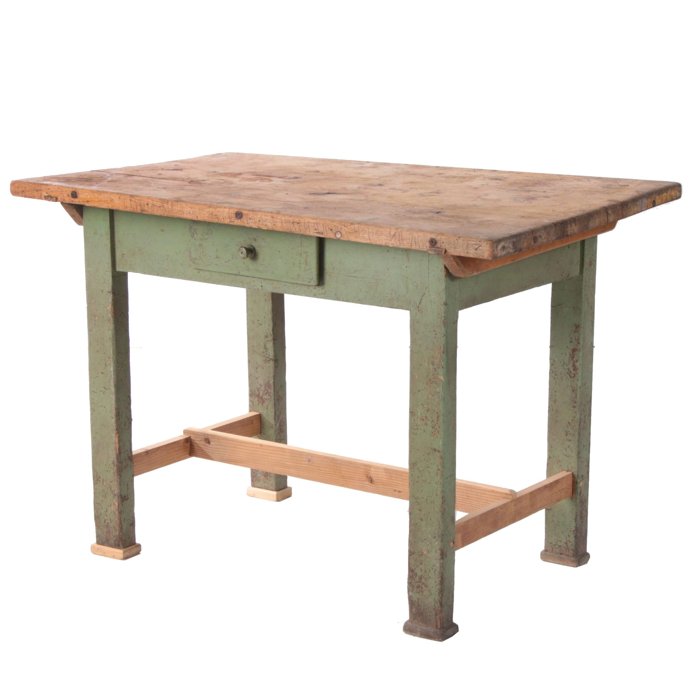 Hungarian Painted Pine Work Table, Mid-20th Century