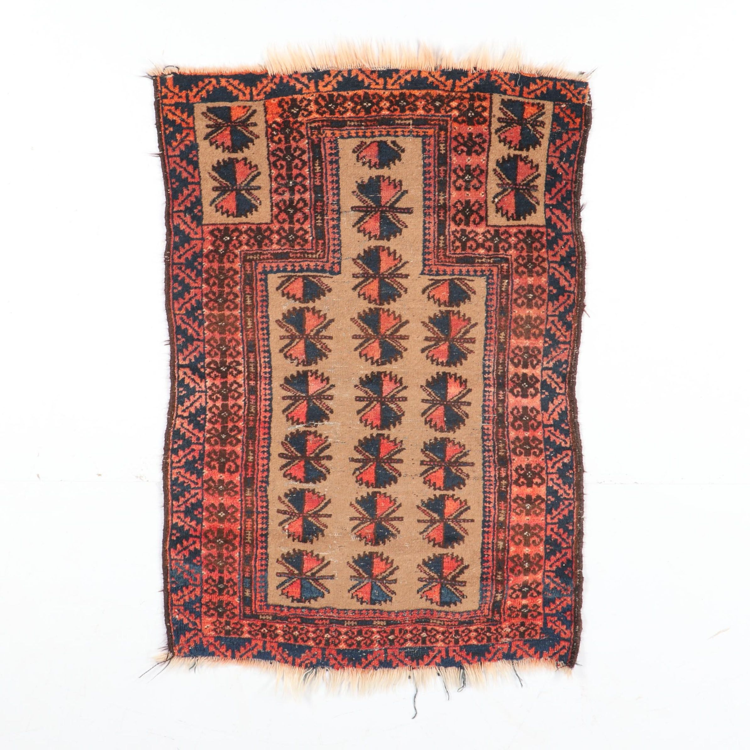 Hand-Knotted Baluch Prayer Rug