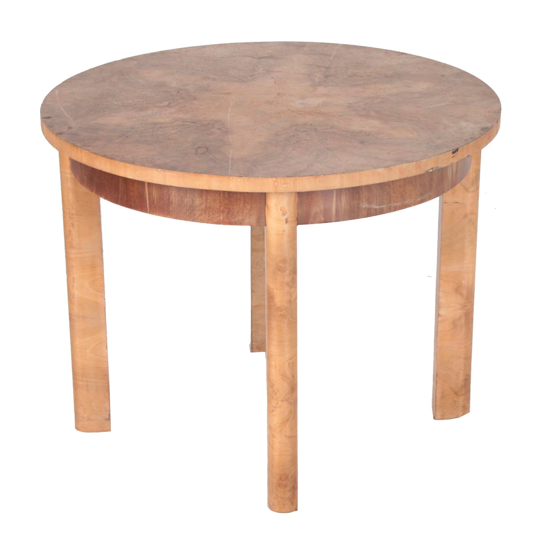 Art Deco Style Burl Wood Circular Occasional Table, Mid-20th Century