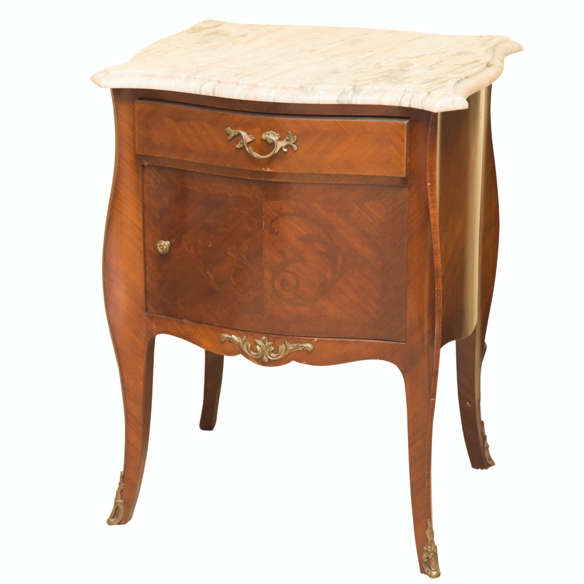 Louis XV Style Stone Topped Banded Walnut Veneered Side Table, 20th Century