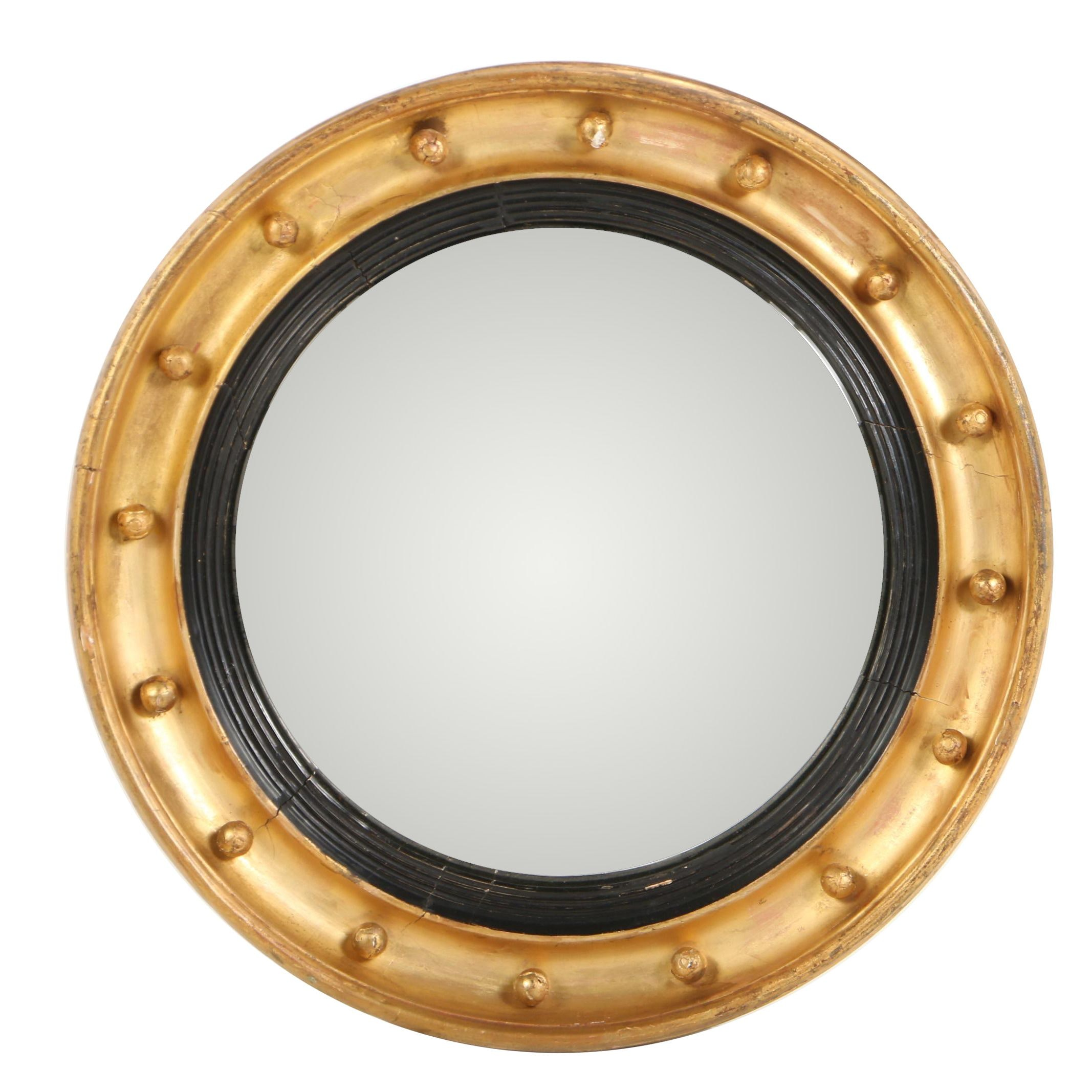 Giltwood and Gesso Round Convex Wall Mirror, Early 20th Century
