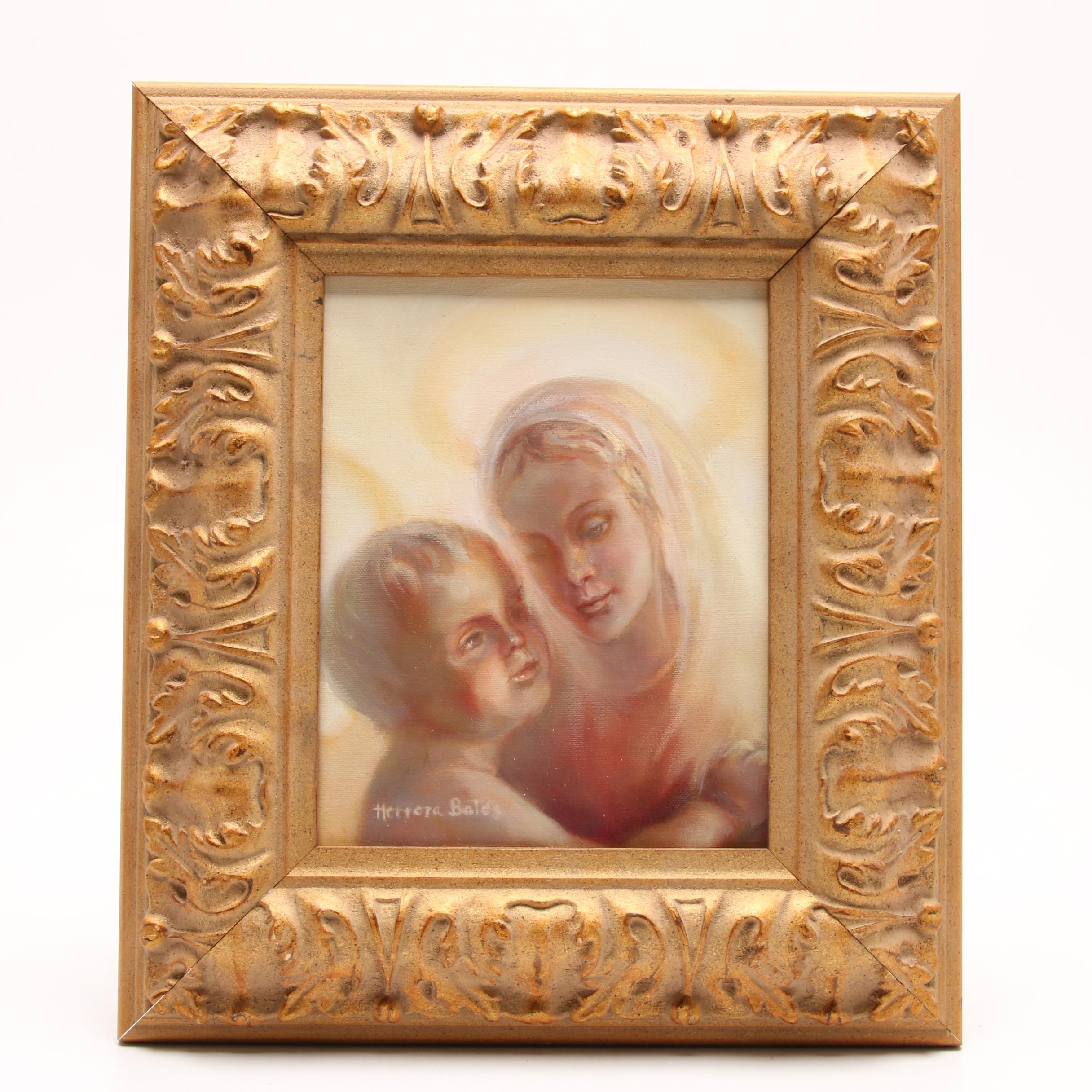 Rosa Herrera Bates Oil Painting of Mother and Child