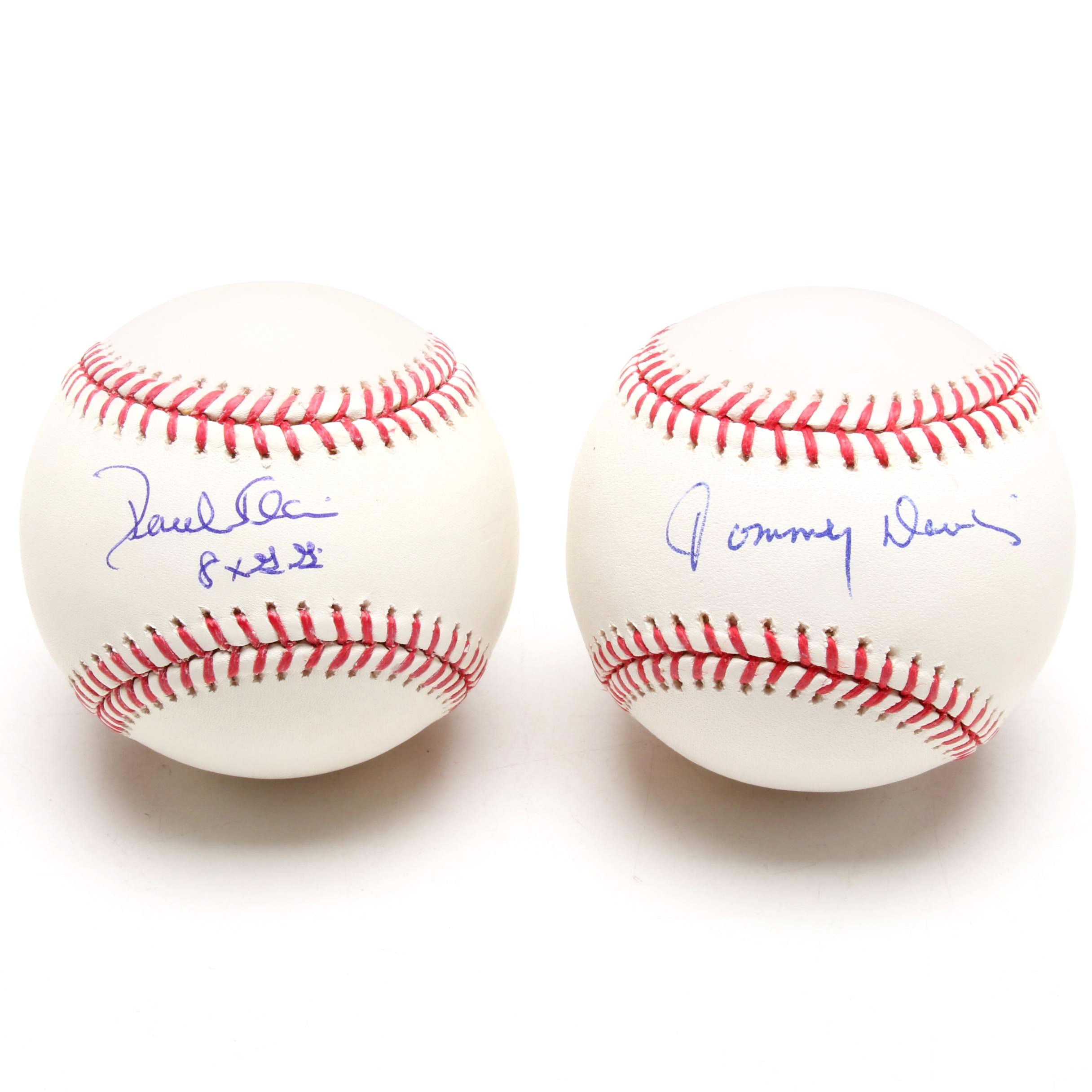 Paul Blair and Tommy Davis Signed Rawlings Major League Baseballs
