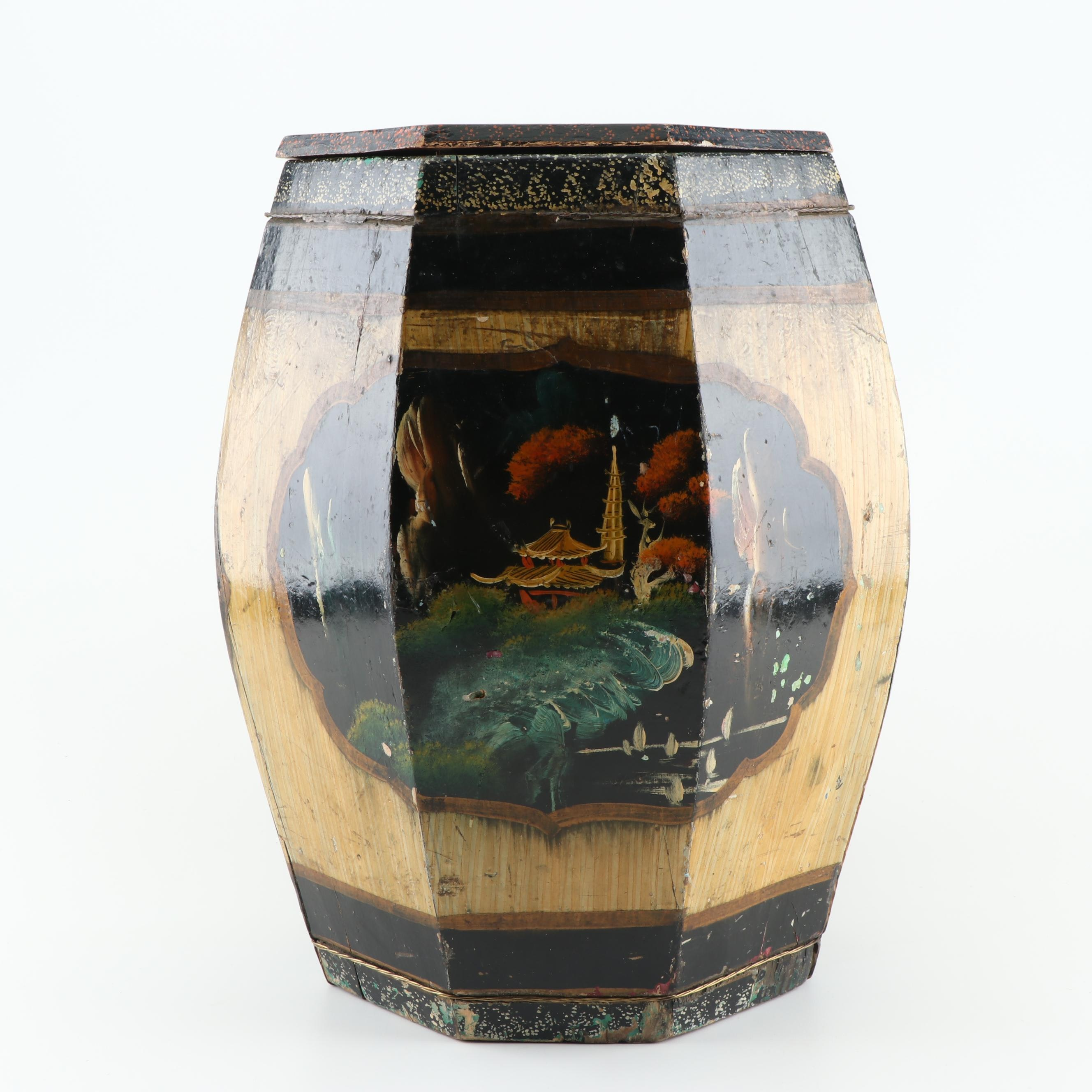 Hand-Painted Chinese Inspired Wooden Garden Stool