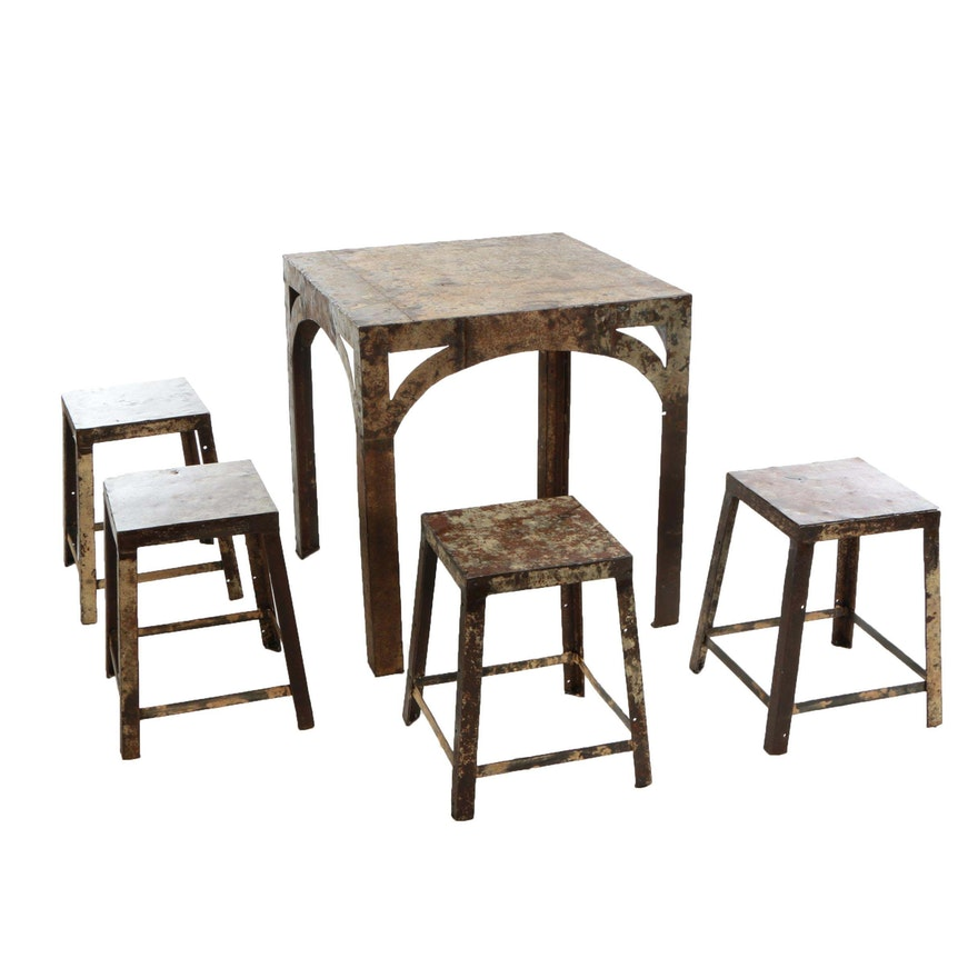 Sensational Industrial Style Masons Plate Metal Cafe Table And Stools Forskolin Free Trial Chair Design Images Forskolin Free Trialorg