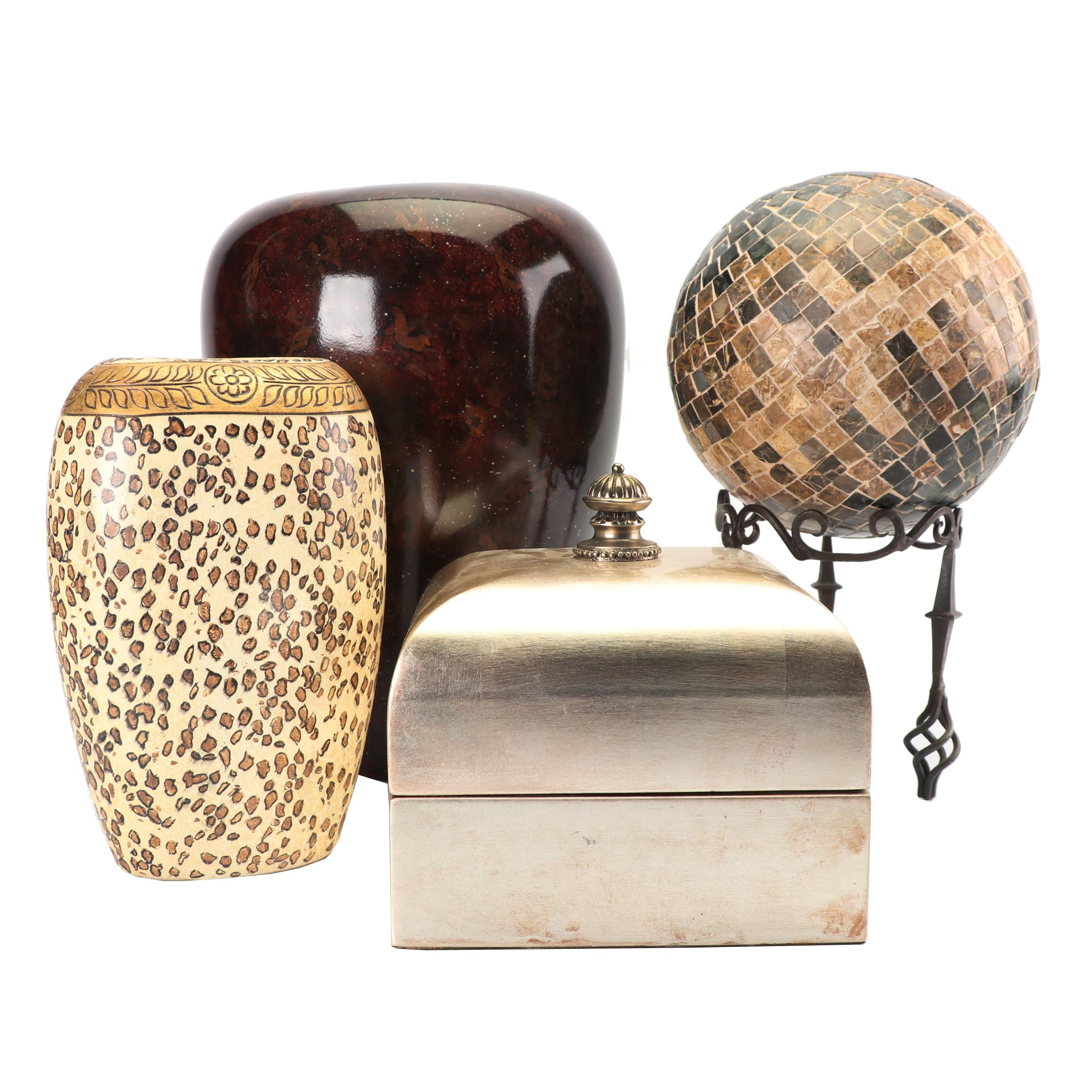 Maitland Smith Decorative Box with Vases and Mosaic Orb