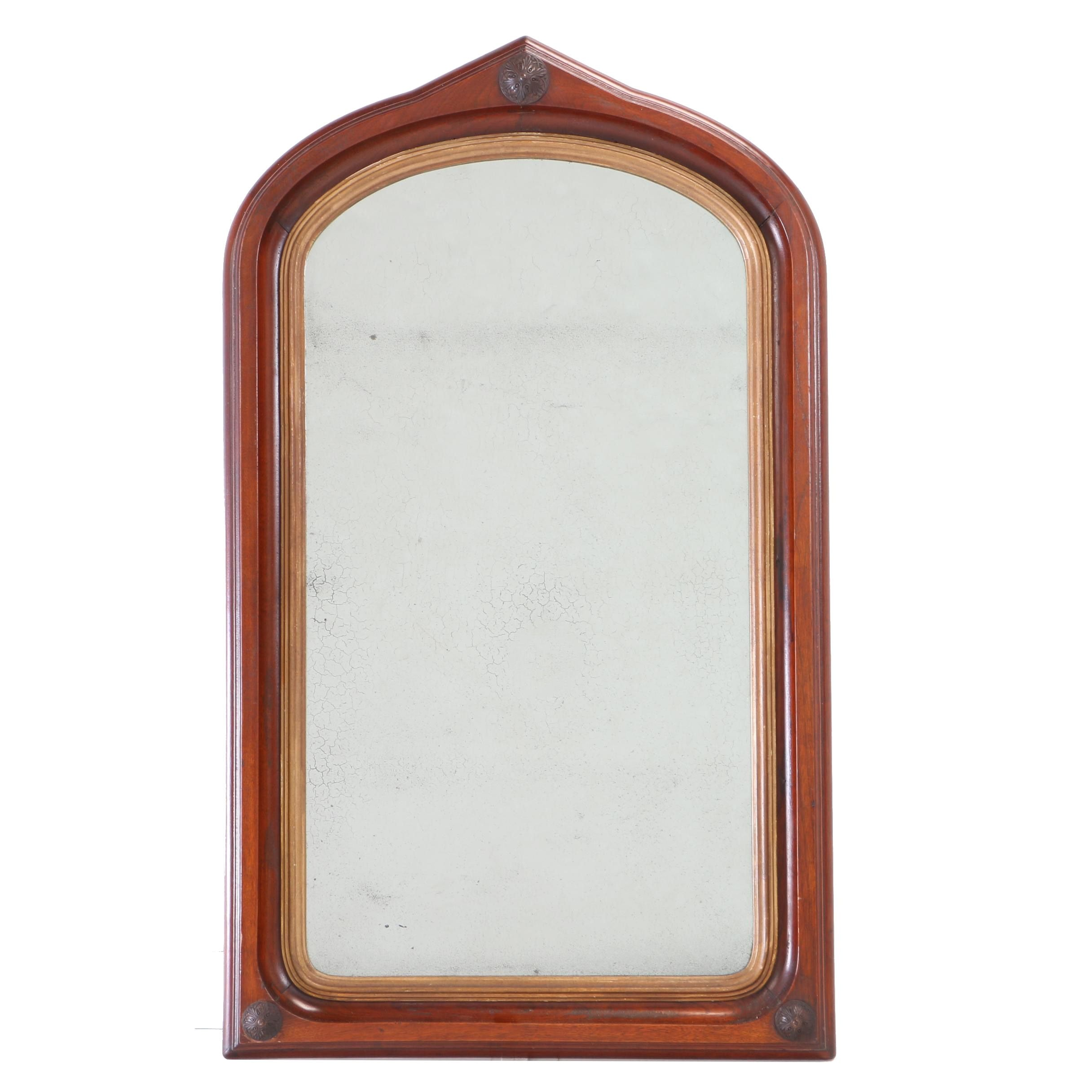 Victorian Walnut and Parcel-Gilt Mirror, Late 19th Century