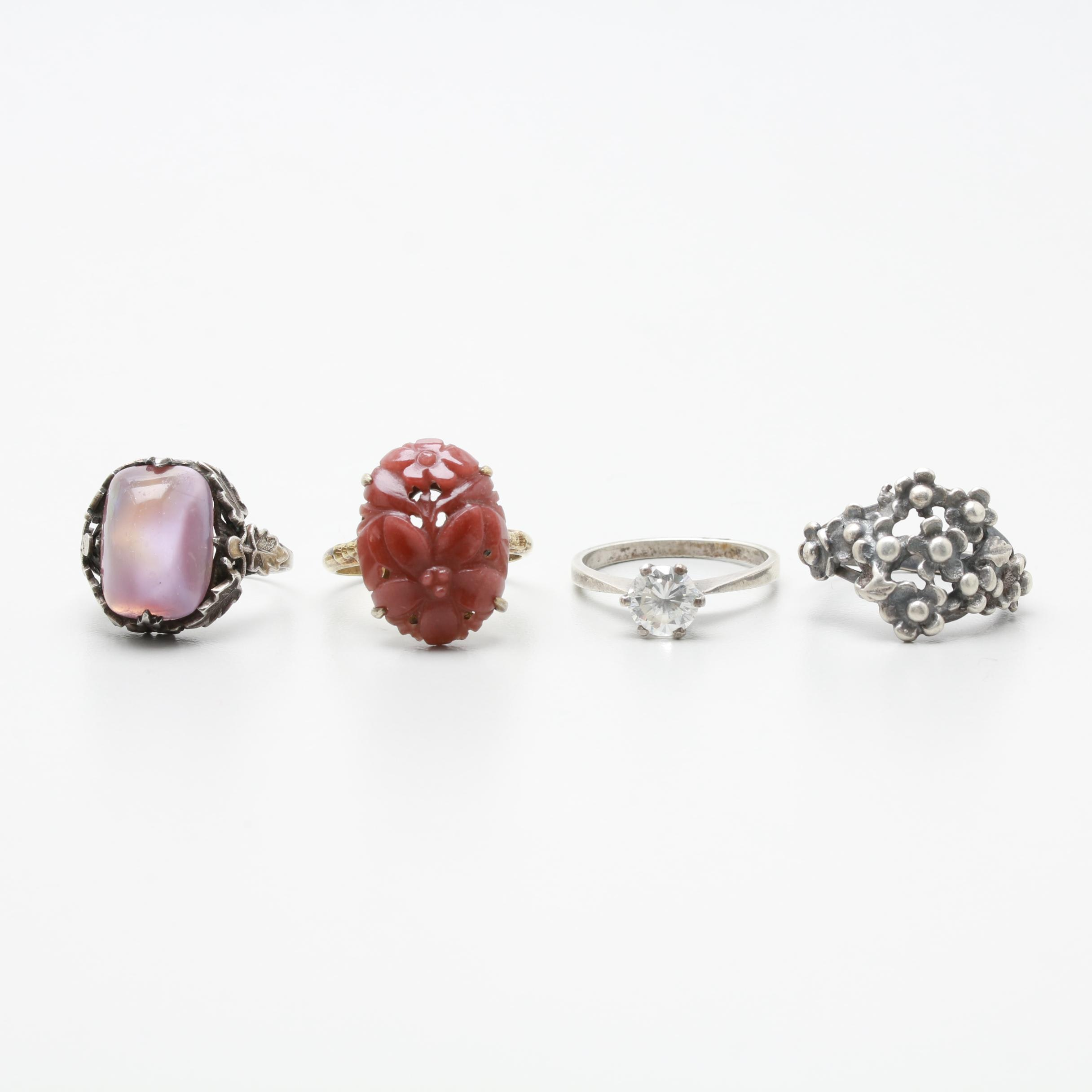 Sterling Silver Quartzite, Cubic Zirconia and Glass Rings