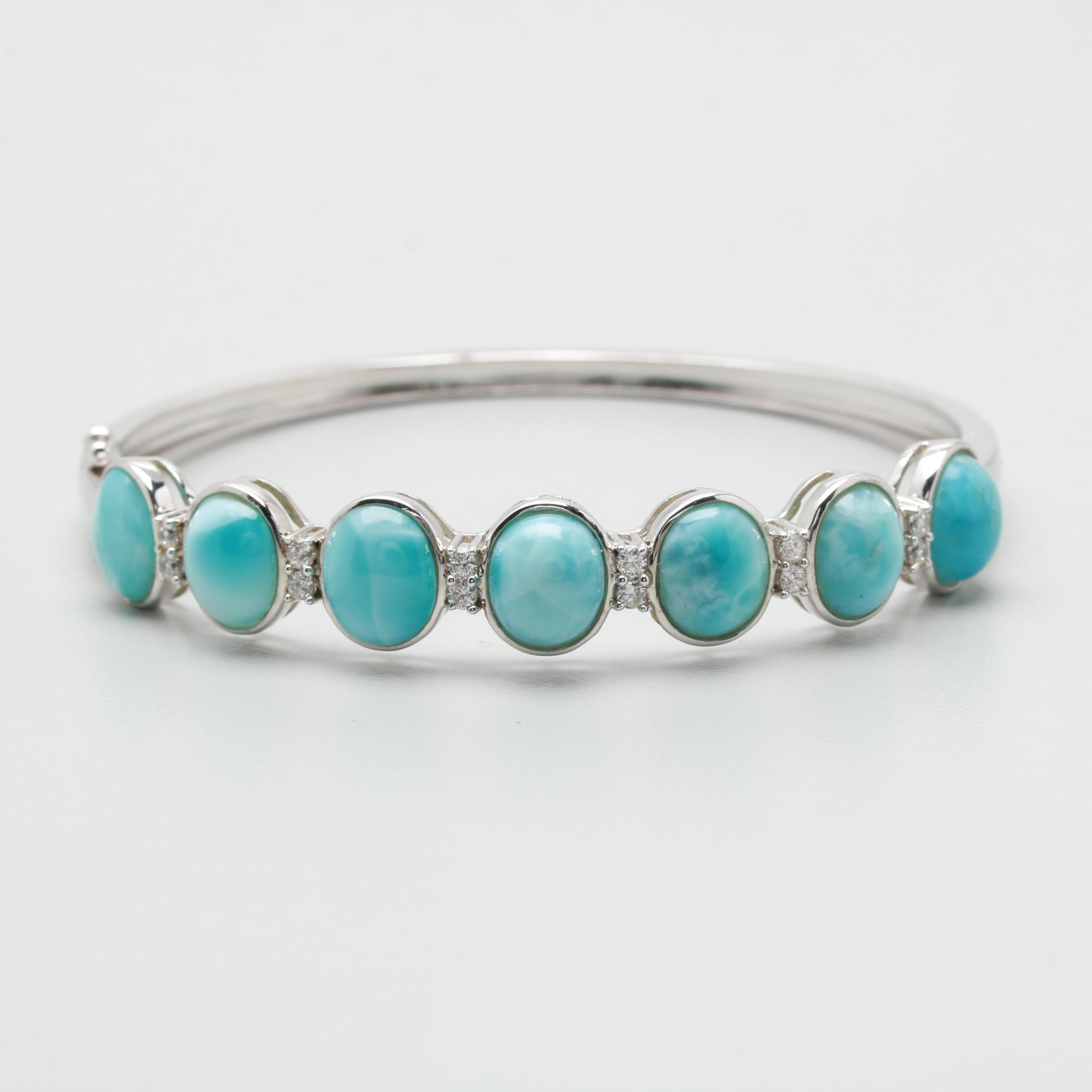 Sterling Silver Larimar and Cubic Zirconia Hinged Bangle Bracelet