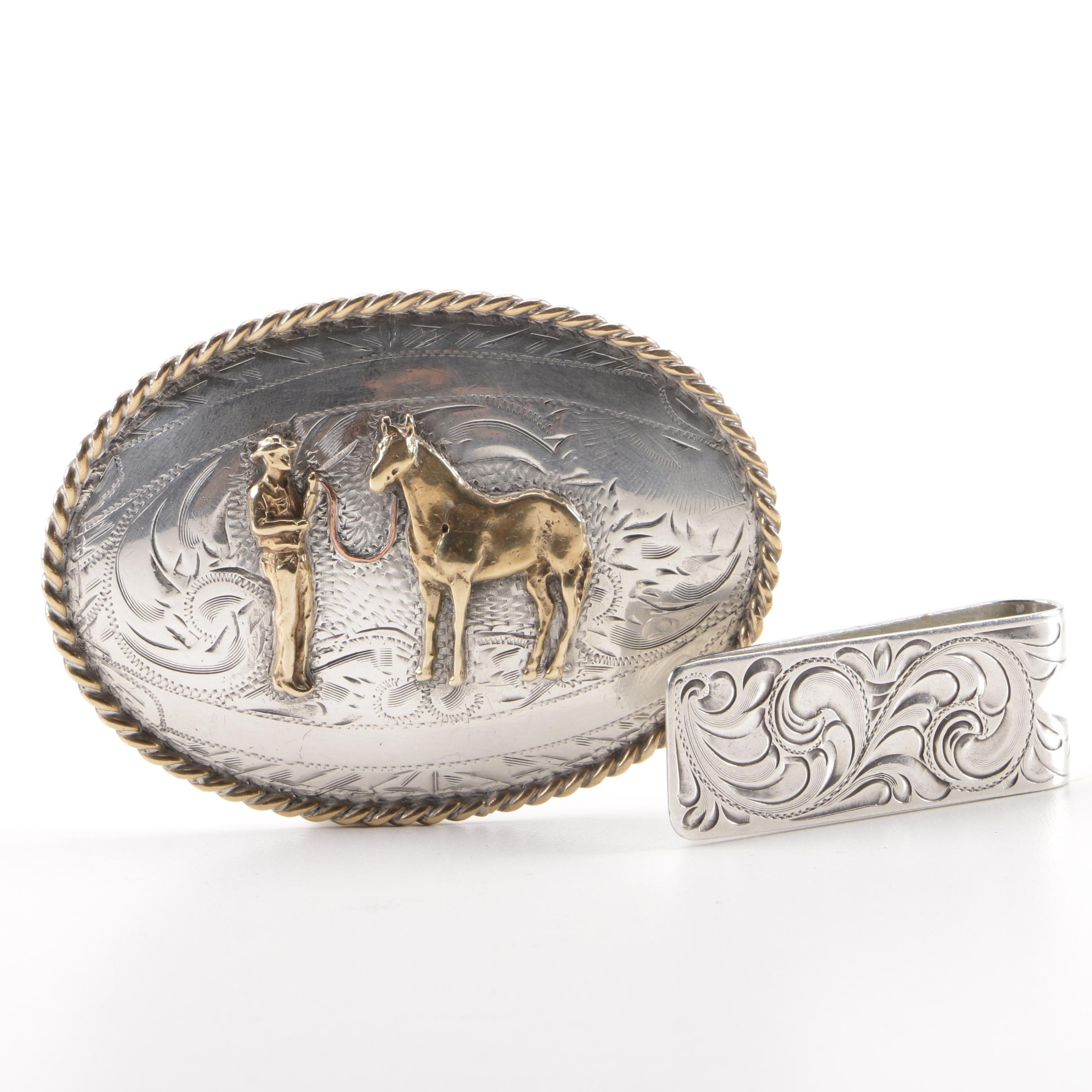 Engraved Tex Tan Belt Buckle and Vogt Money Clip with Sterling Silver Fronts