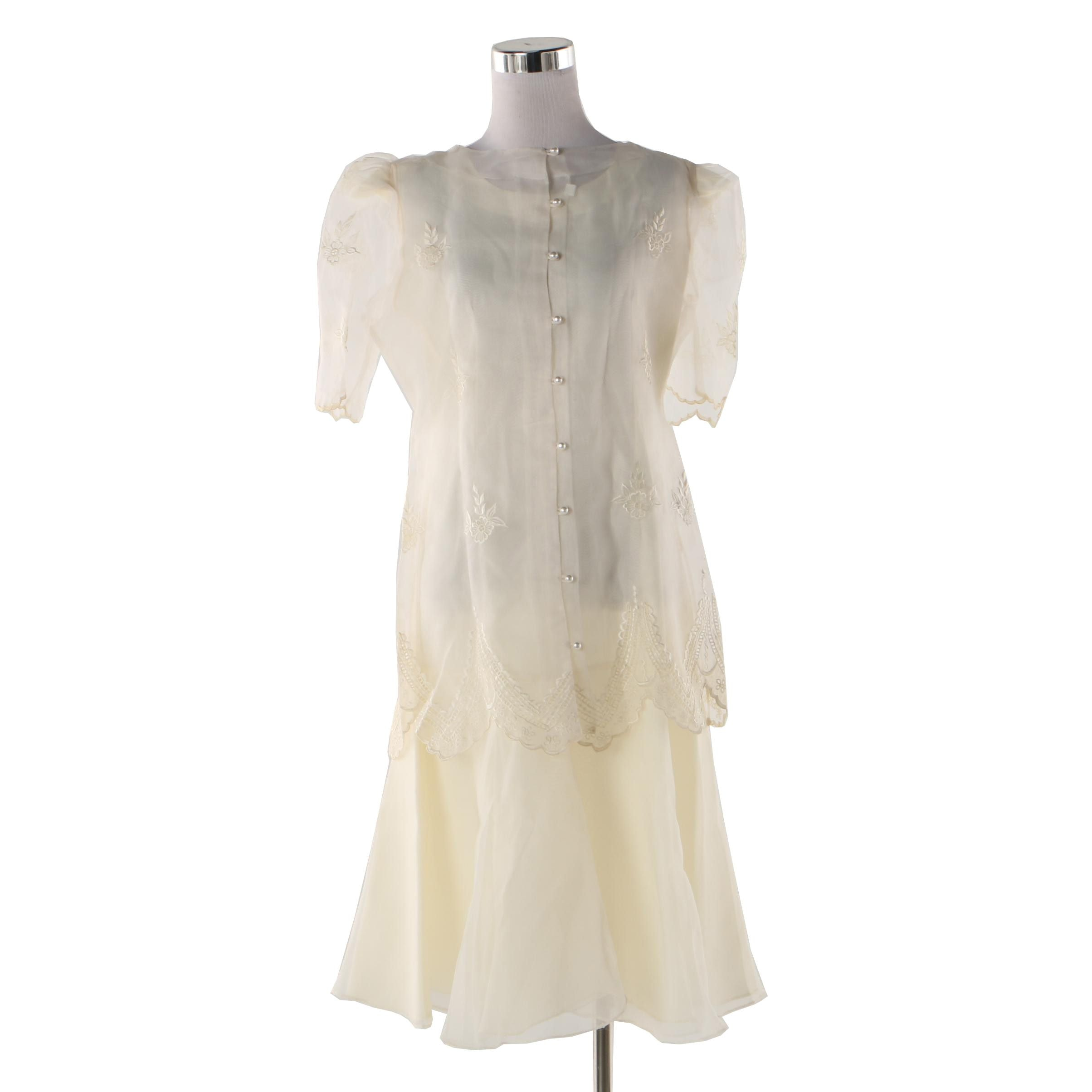 Ivory Overlay Sheer Embroidered Dress