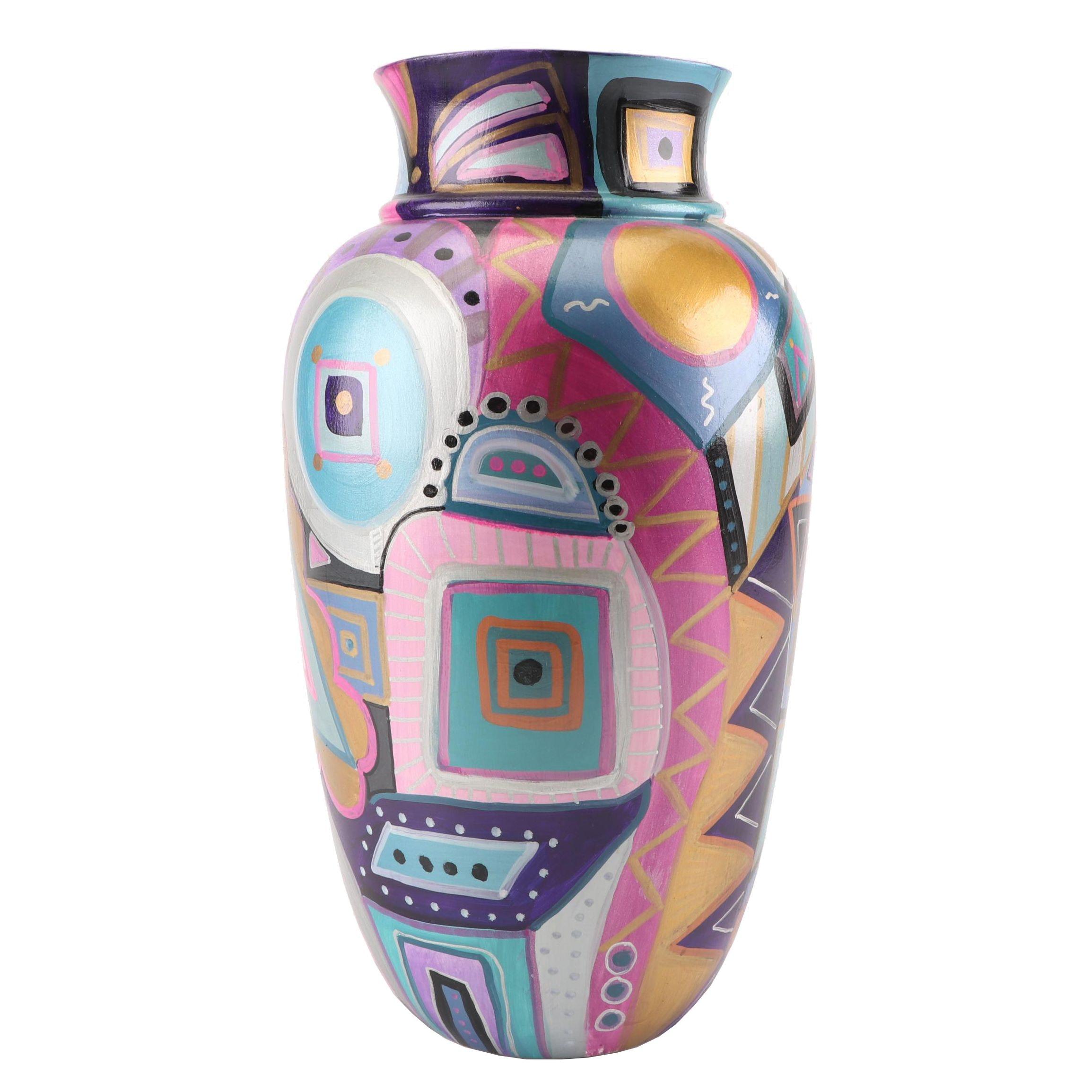 Hand-Painted Suellen Art Pottery Vase, 1996