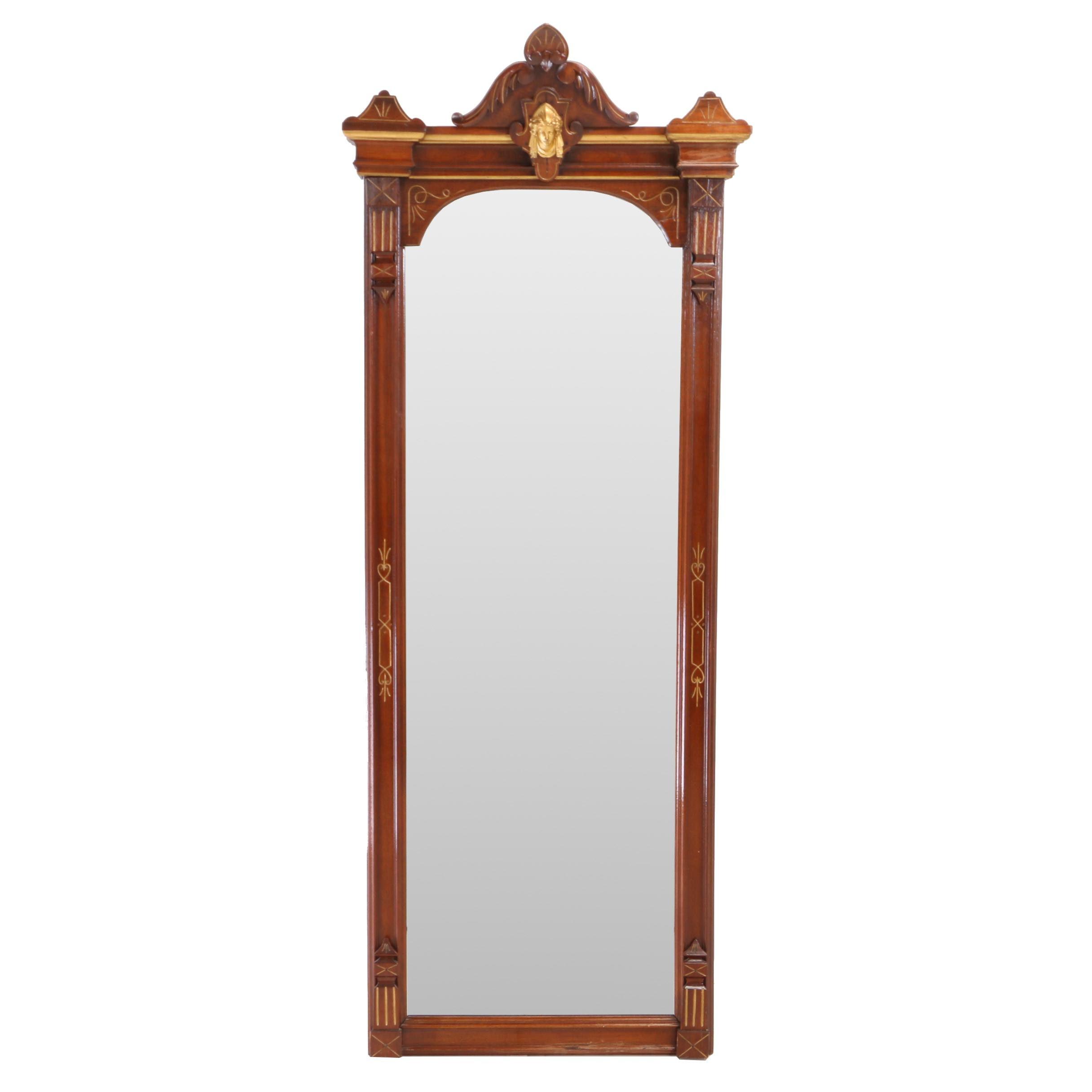 Renaissance Revival Walnut and Parcel-Gilt Pier Mirror, Circa 1870
