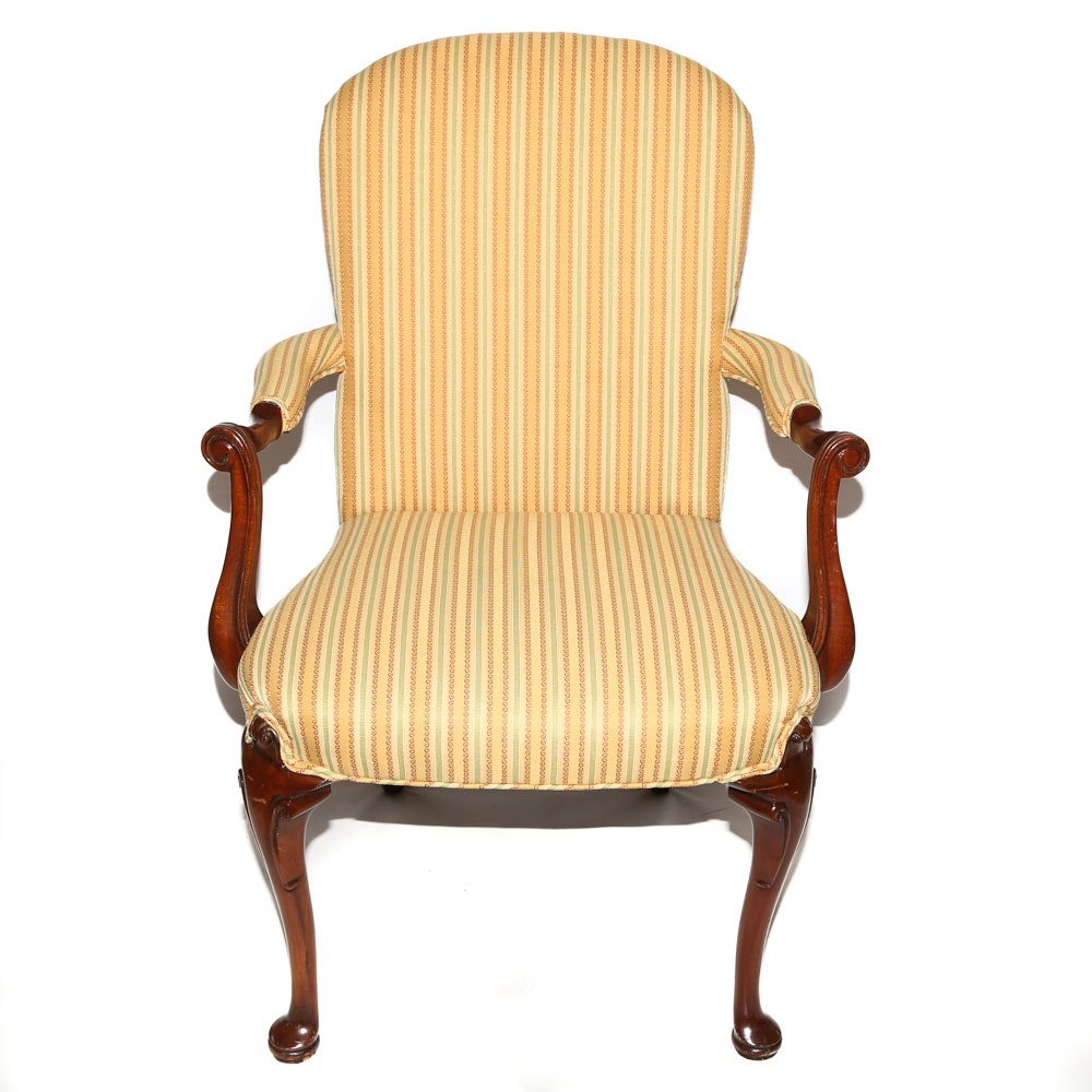Chippendale Style Wood Frame Upholstered Armchair, Late 20th Century