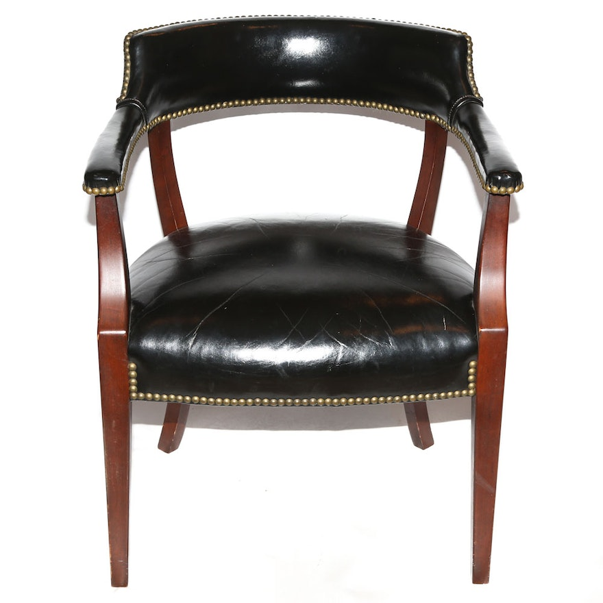 Vinyl Upholstered Open Back Club Chair By Loeblein Creations 20th Century Ebth