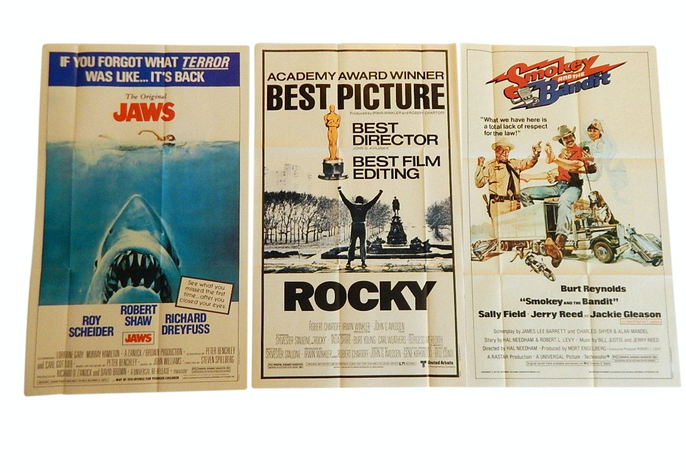 """Smokey and the Bandit"", ""Jaws"",""Rocky"" Topps Fold-Out Posters, 1981"