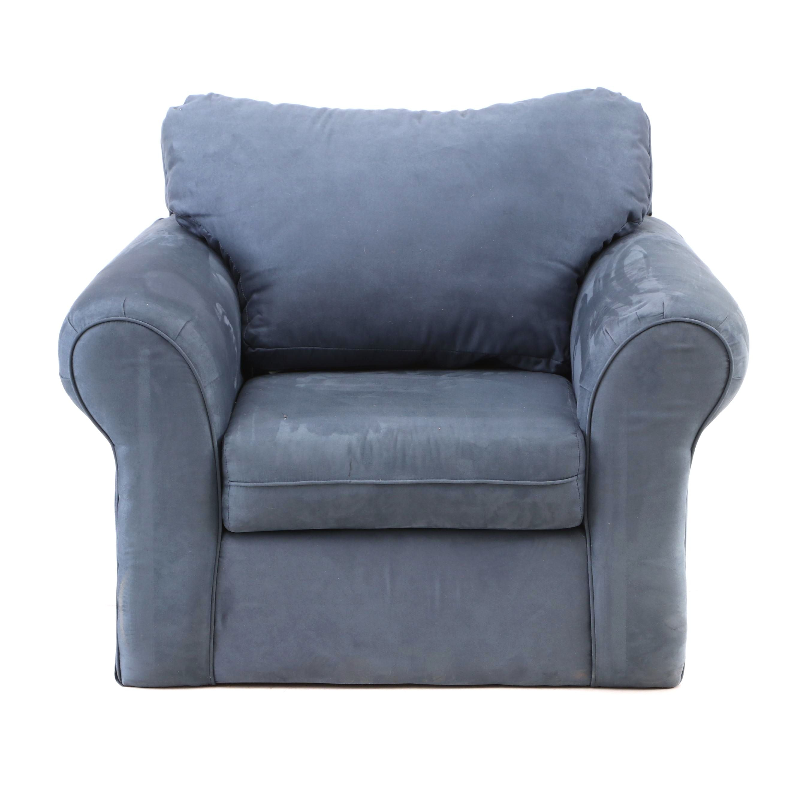 Blue Suede Upholstered Arm Chair