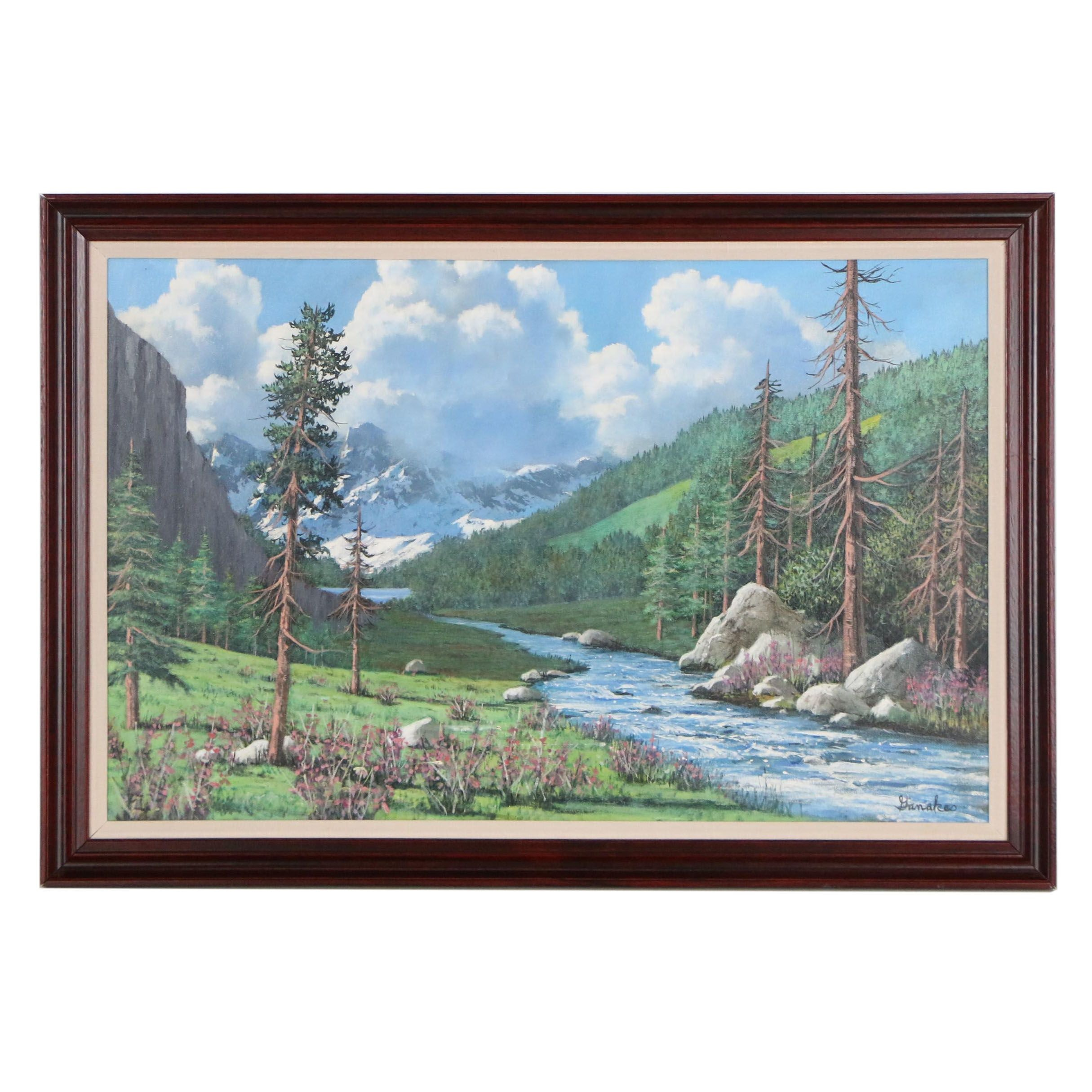 Constantine Ganakes Mountain Landscape Oil Painting