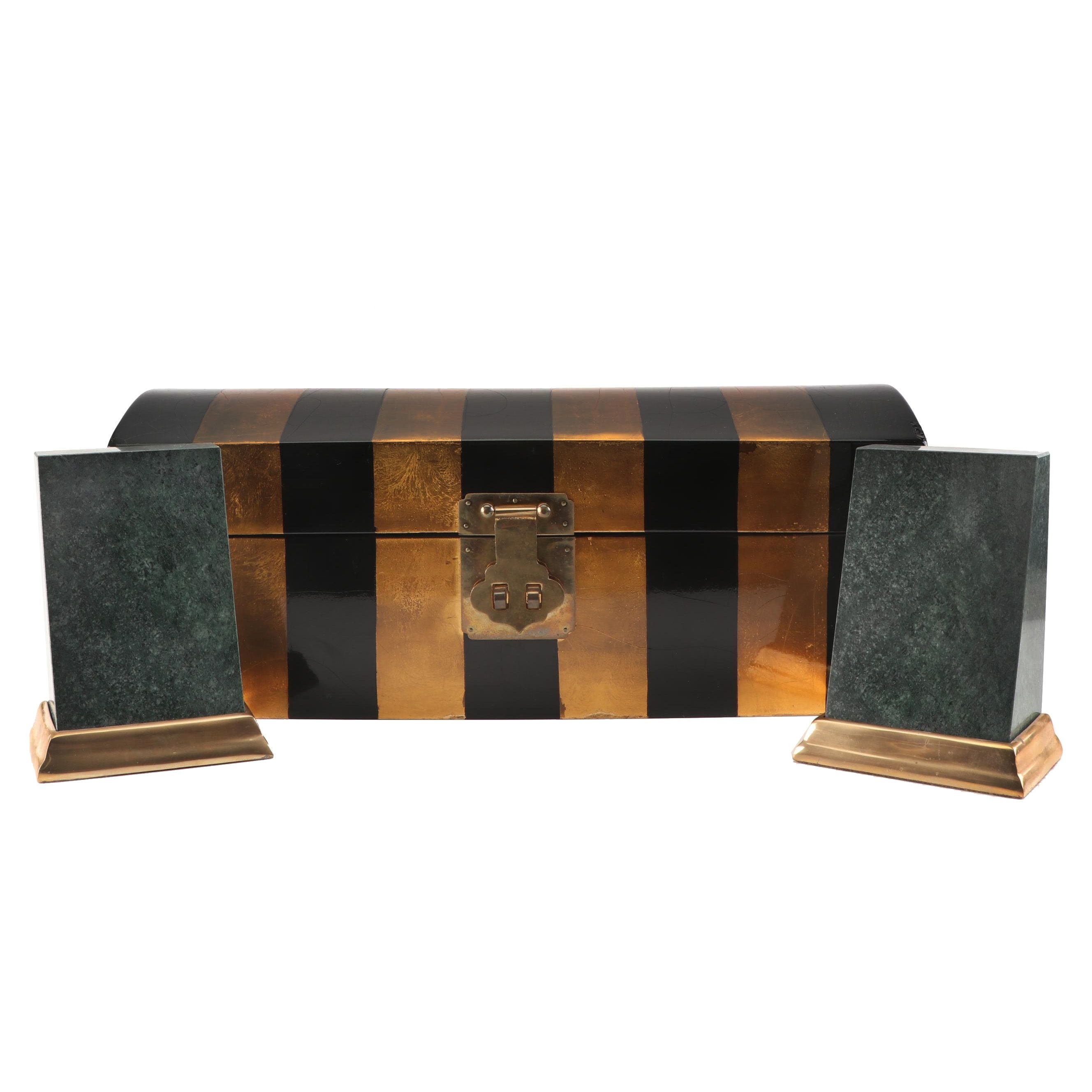 Decorative Lacquerware Chest with Granite Bookends