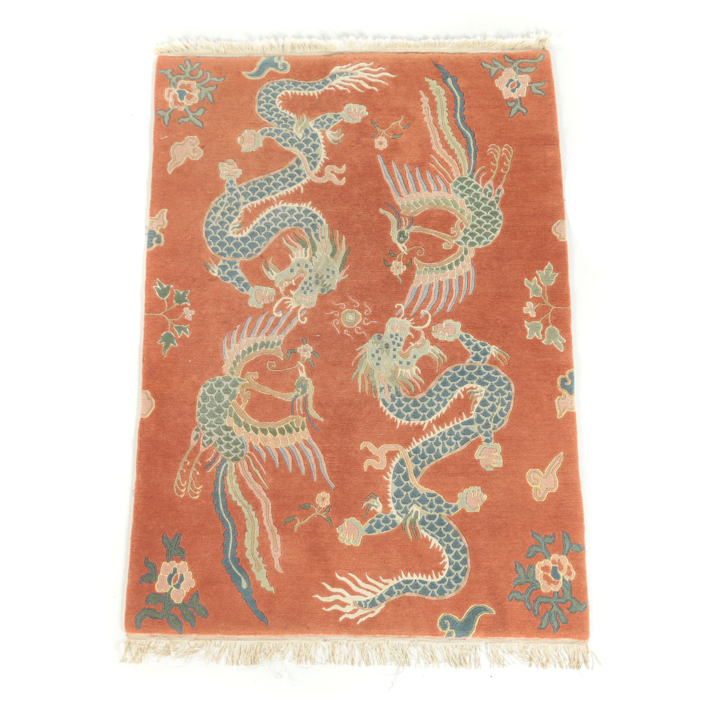 """Hand-Knotted Nepalese """"Dragon and Phoenix"""" Carved Wool Rug"""