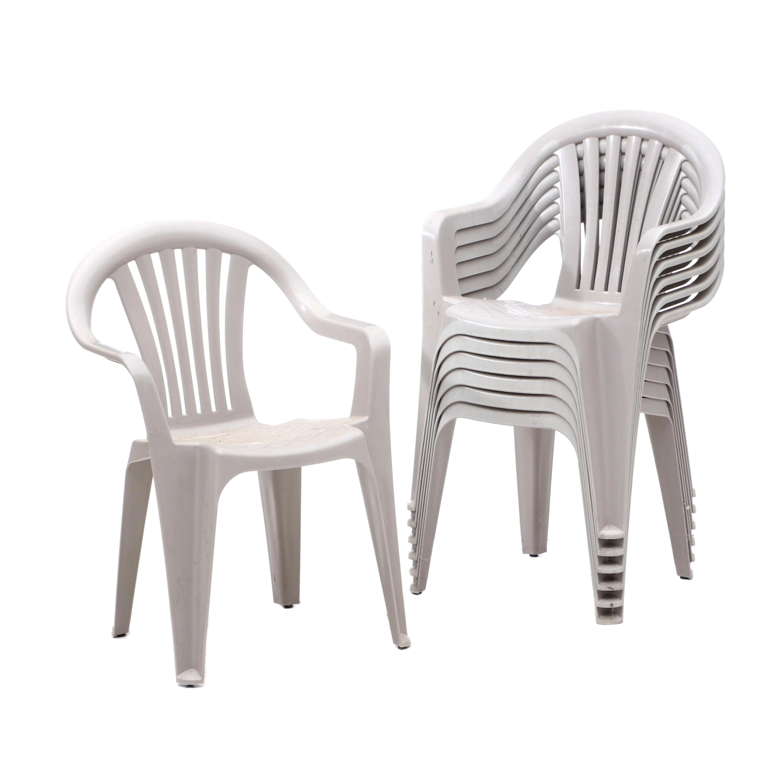 Stacking Plastic Patio Chairs in Gray