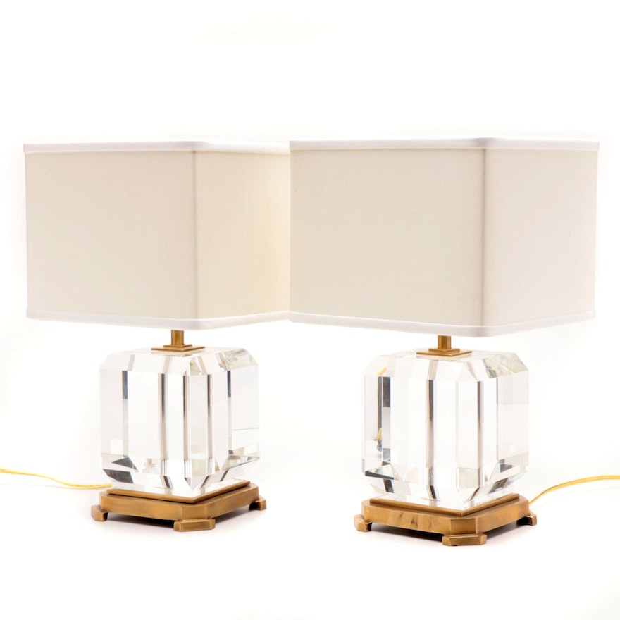 Two Decorative Crafts Inc Glass Table Lamps