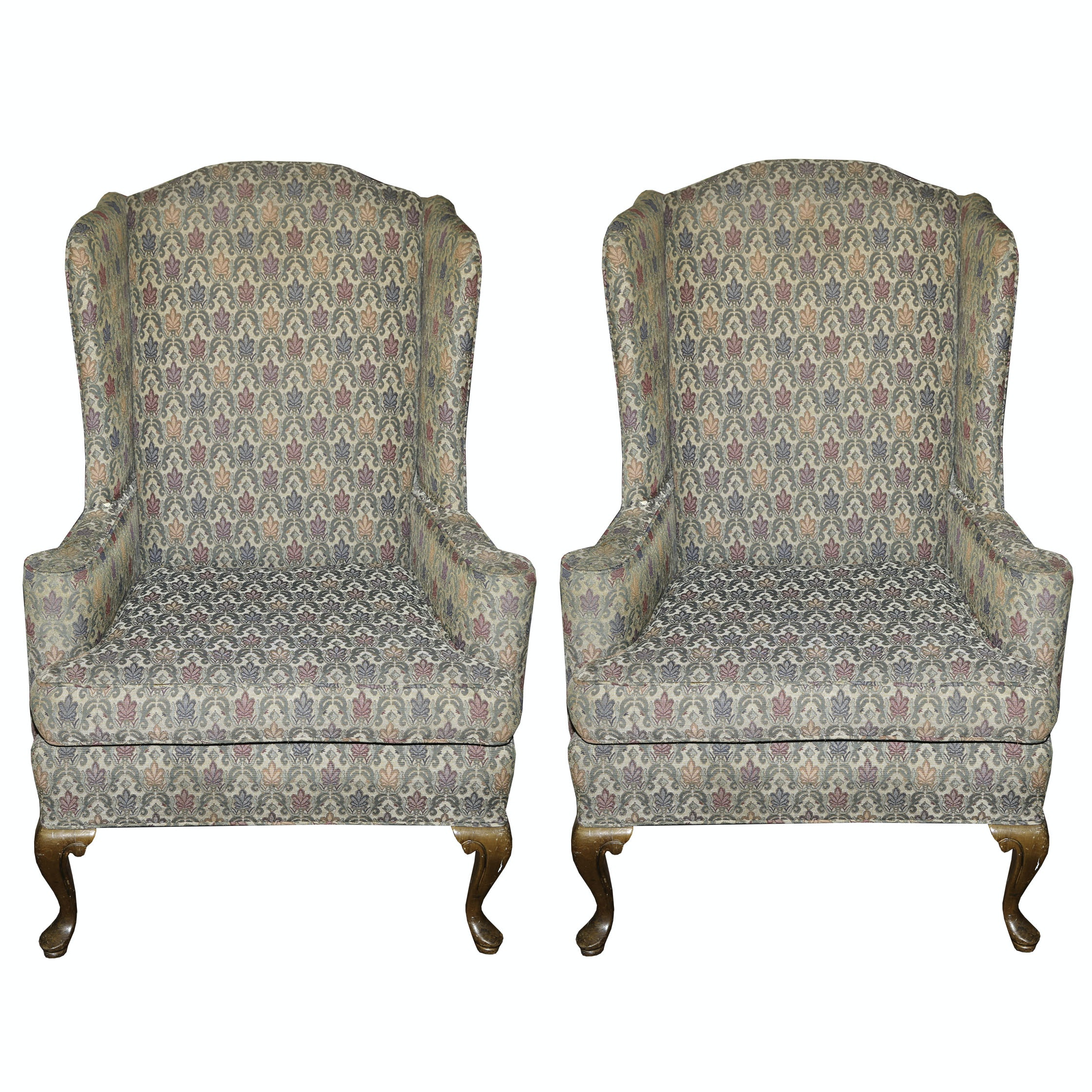 Queen Anne Style Upholstered Wingback Armchairs, Mid/Late 20th Century