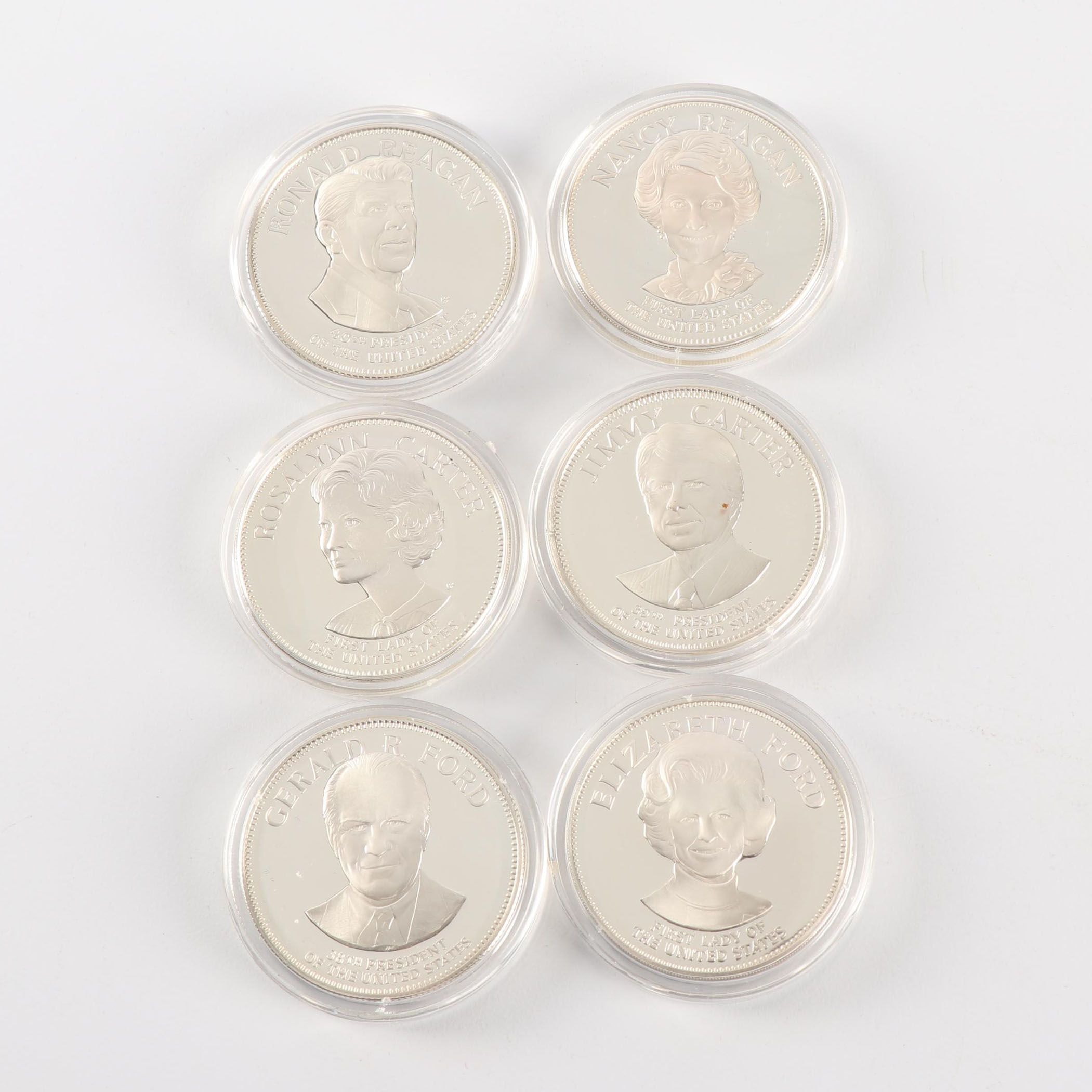 Collection of Six .925 Sterling President and First Lady Medals