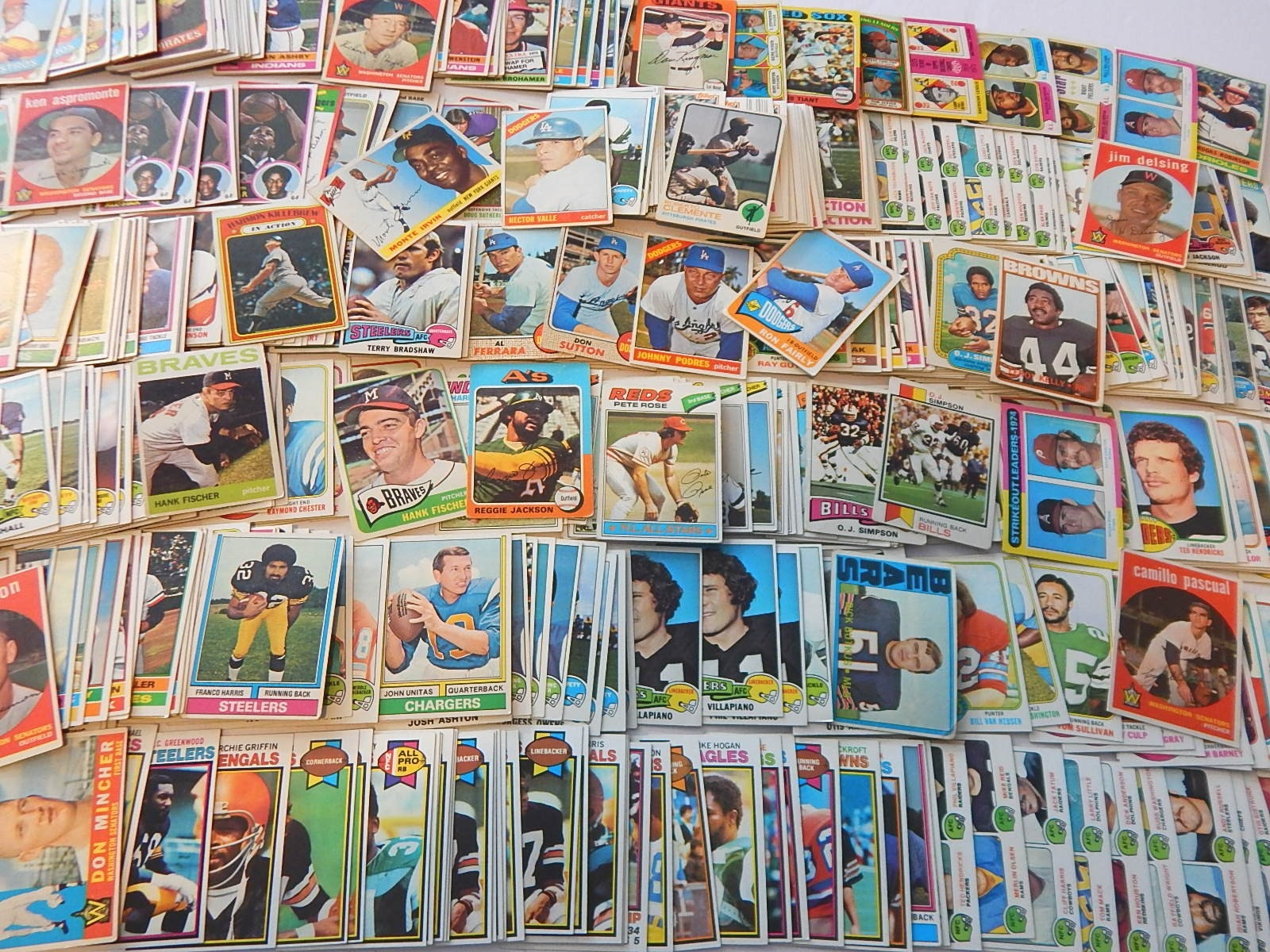 Large Vintage Baseball and Football Card Collection from 1950s to Early 1980s