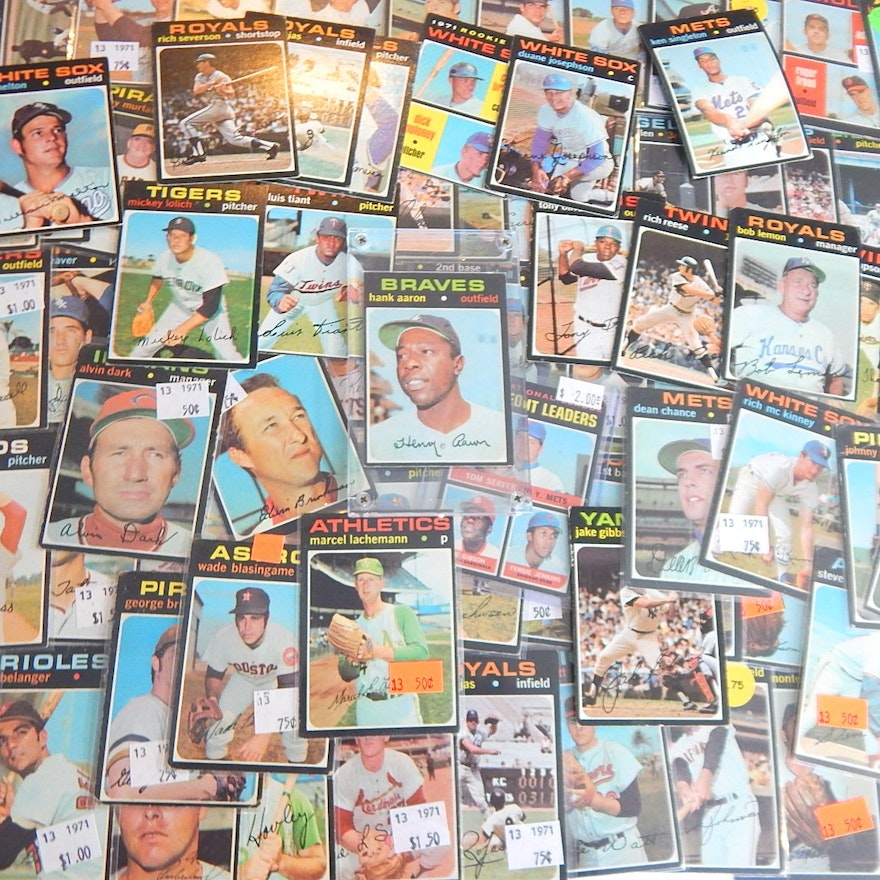1971 Topps Baseball Card Collection With Hank Aaron 400
