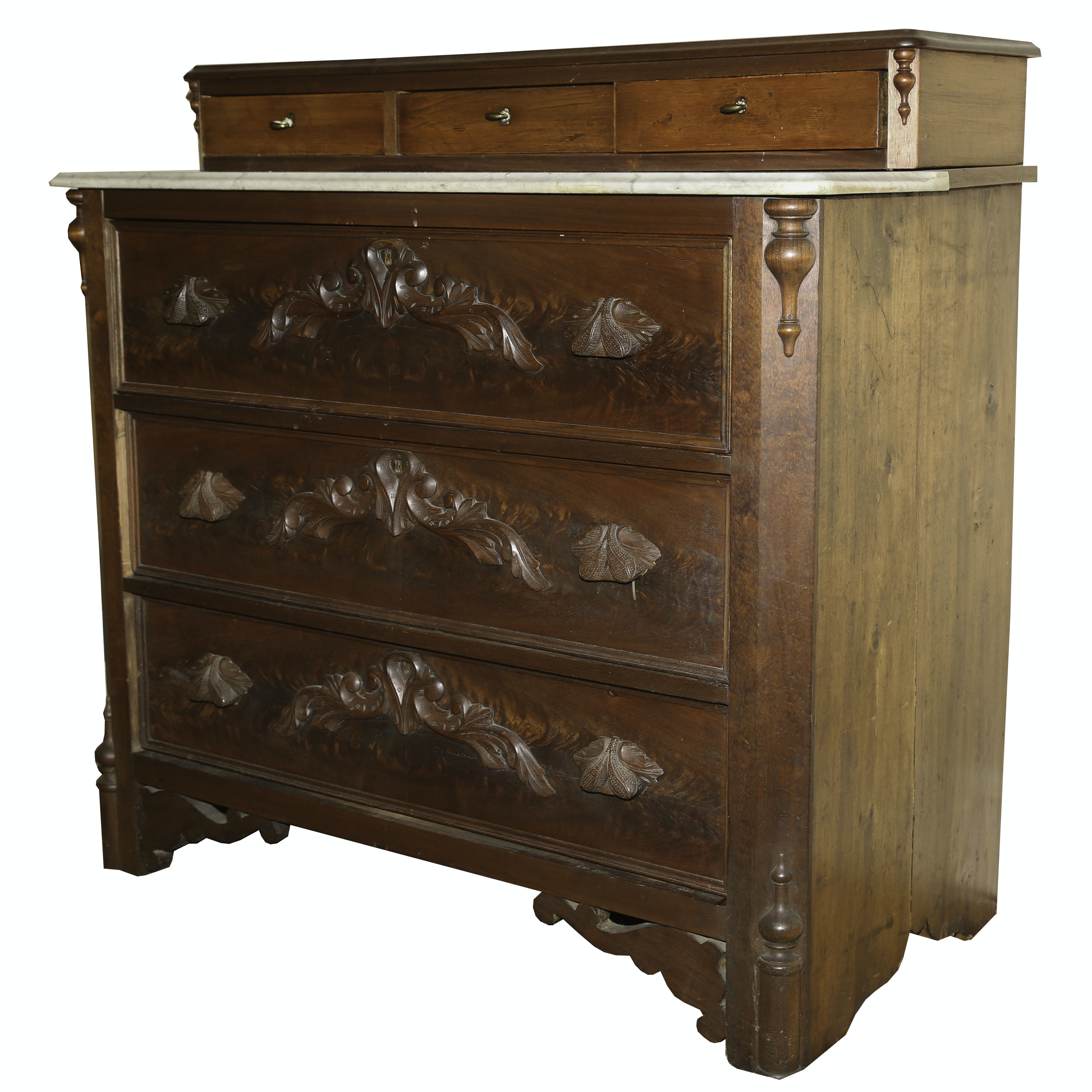 Victorian Mixed Wood and Marble Chest of Drawers, Early 19th Century