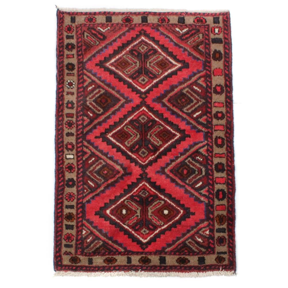 2'6 x 4' Hand-Knotted Persian Zanjan Rug, circa 1980