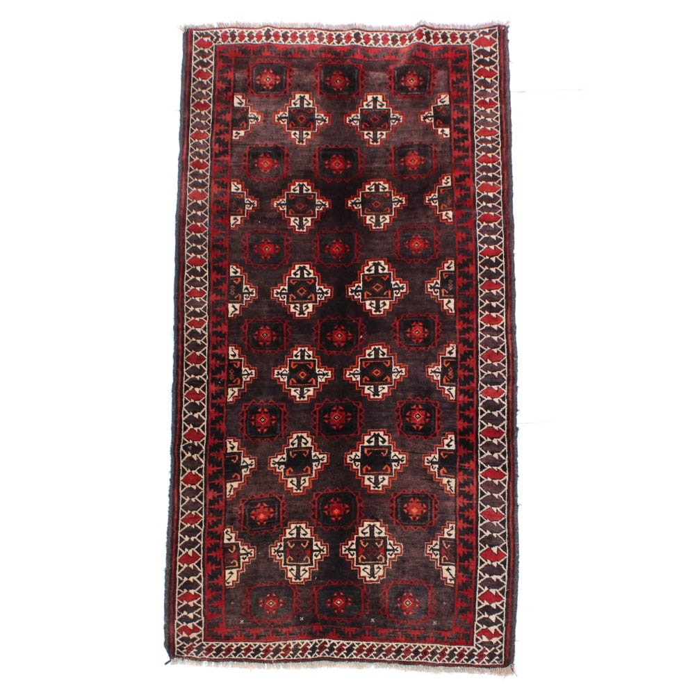 3'9 x 7'9 Hand-Knotted Persian Baluch Rug, circa 1920