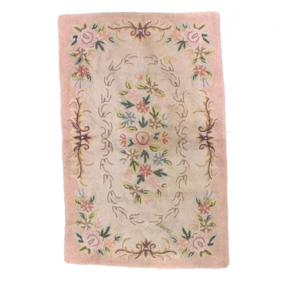 Hand-Hooked Floral Cotton Rug