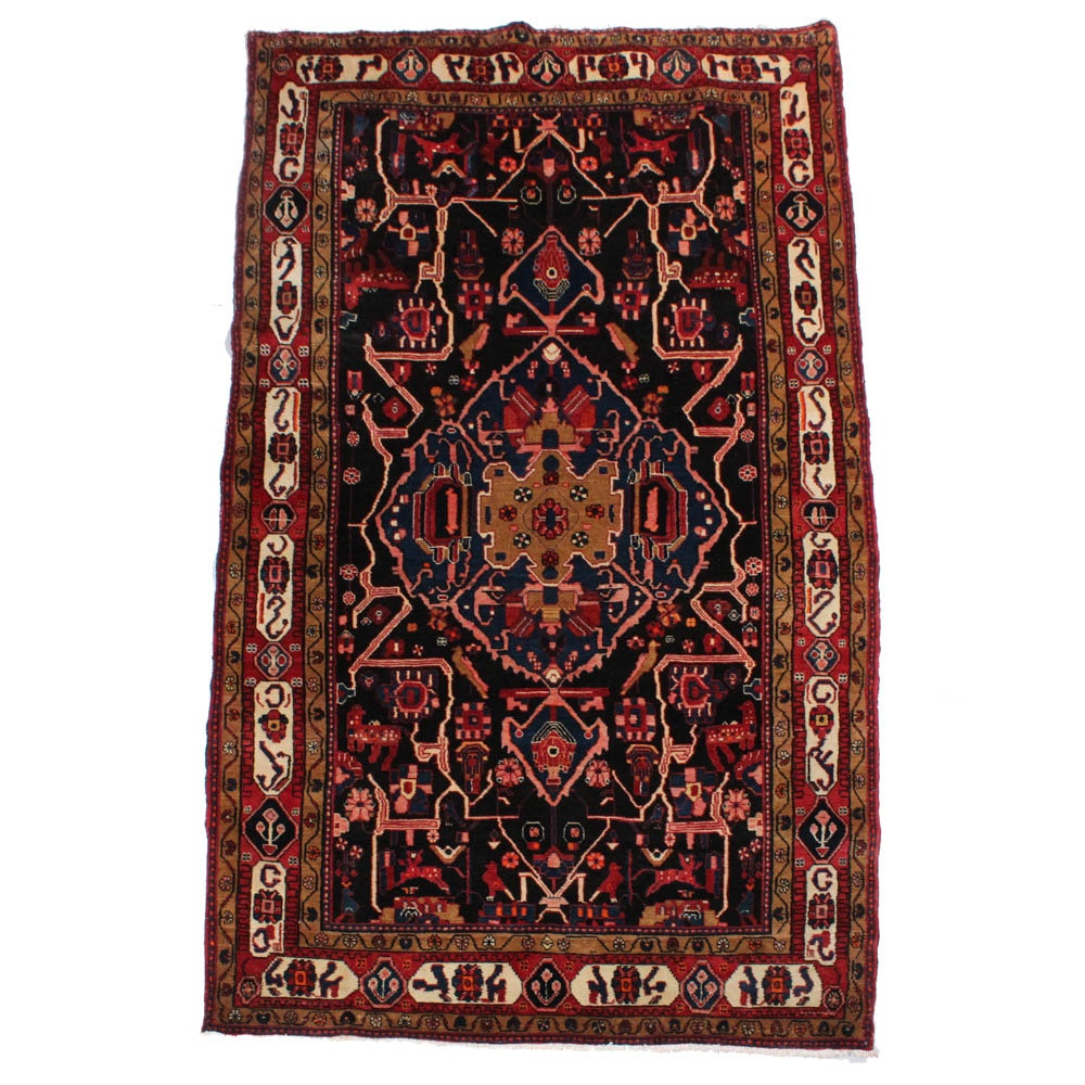 5'5 x 10'4 Hand-Knotted Persian Nahavand Pictorial Rug, circa 1960