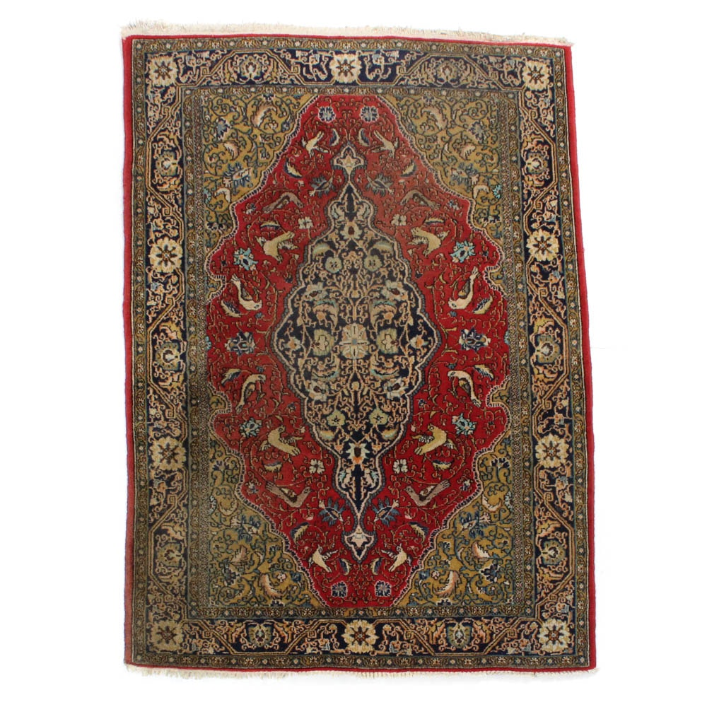 3'5 x 5'1 Hand-Knotted Persian Qum Rug
