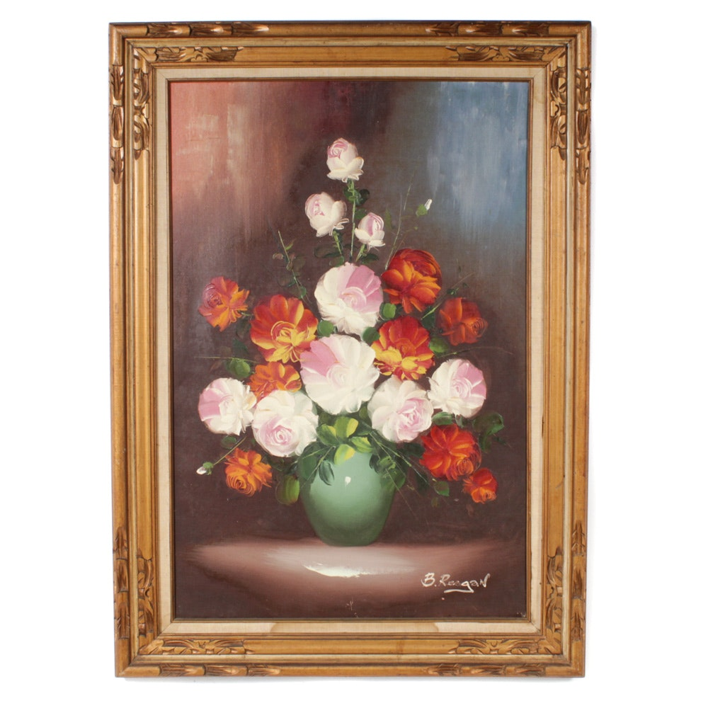 B. Reagan Floral Still Life Large Scale Oil Painting