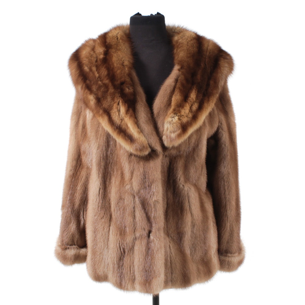Mink Fur Coat With Sable Collar