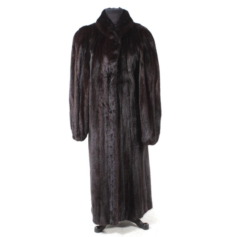 Full-Length Mahogany Mink Fur Coat