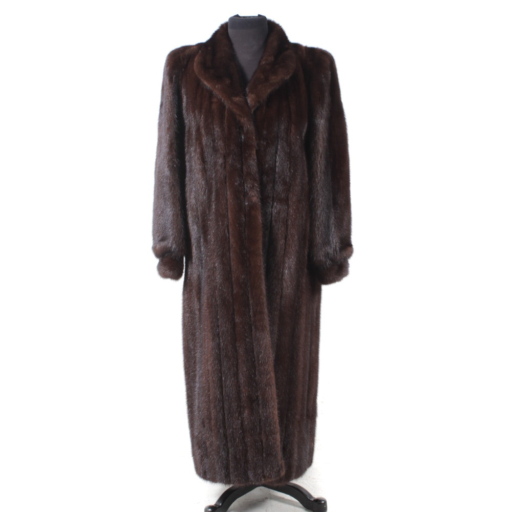 Mahogany Mink Fur Full-Length Coat