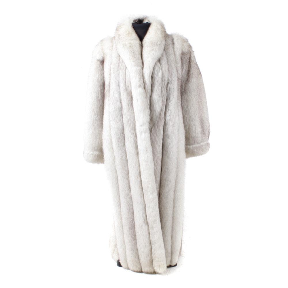 Blue Fox Fur Full-Length Coat