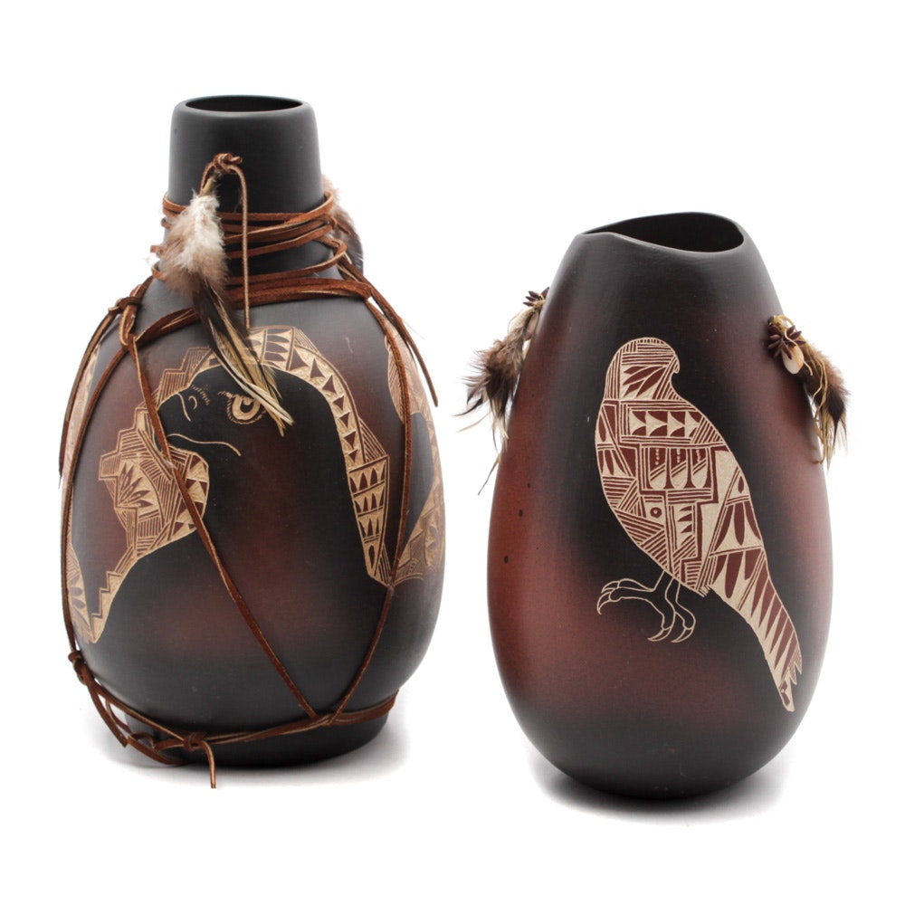 Sgraffito Stoneware Vases Attributed to D. Velarde, Jicarilla Apache