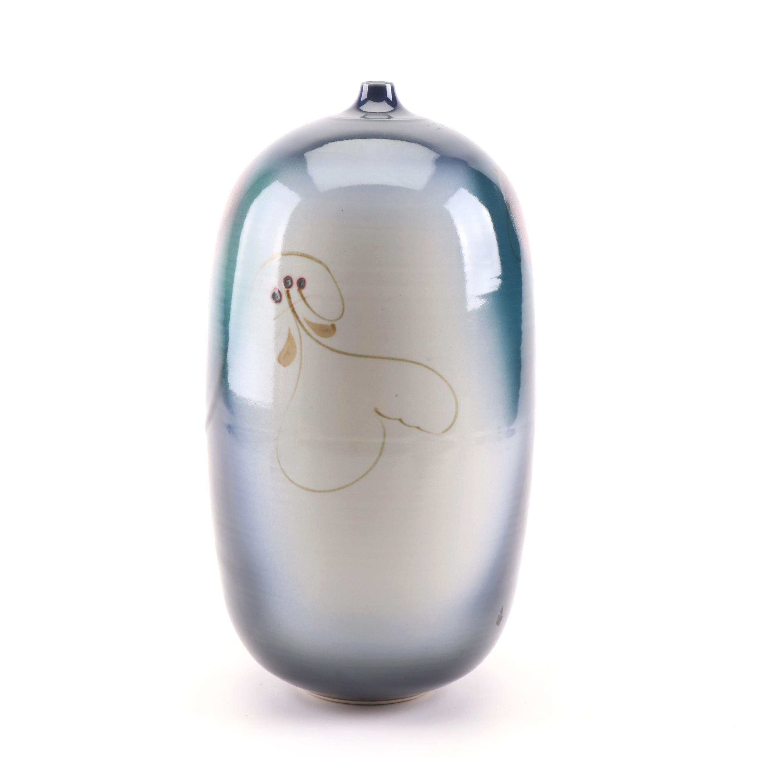 Arthur Vigland Wheel Thrown Porcelain Bottle Vase
