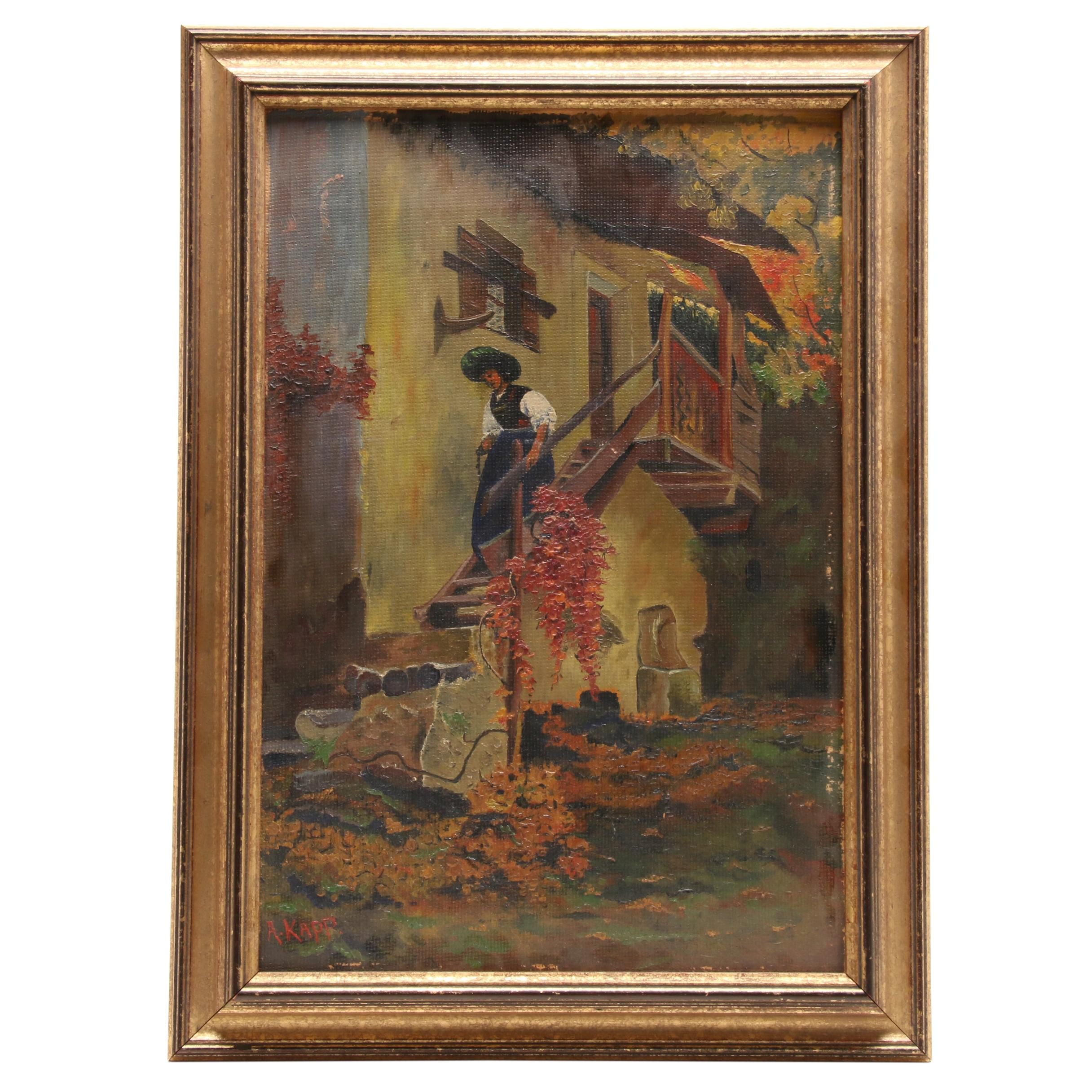"Alfred Kapp 1936 Oil Painting ""Sonntagmorgen"""