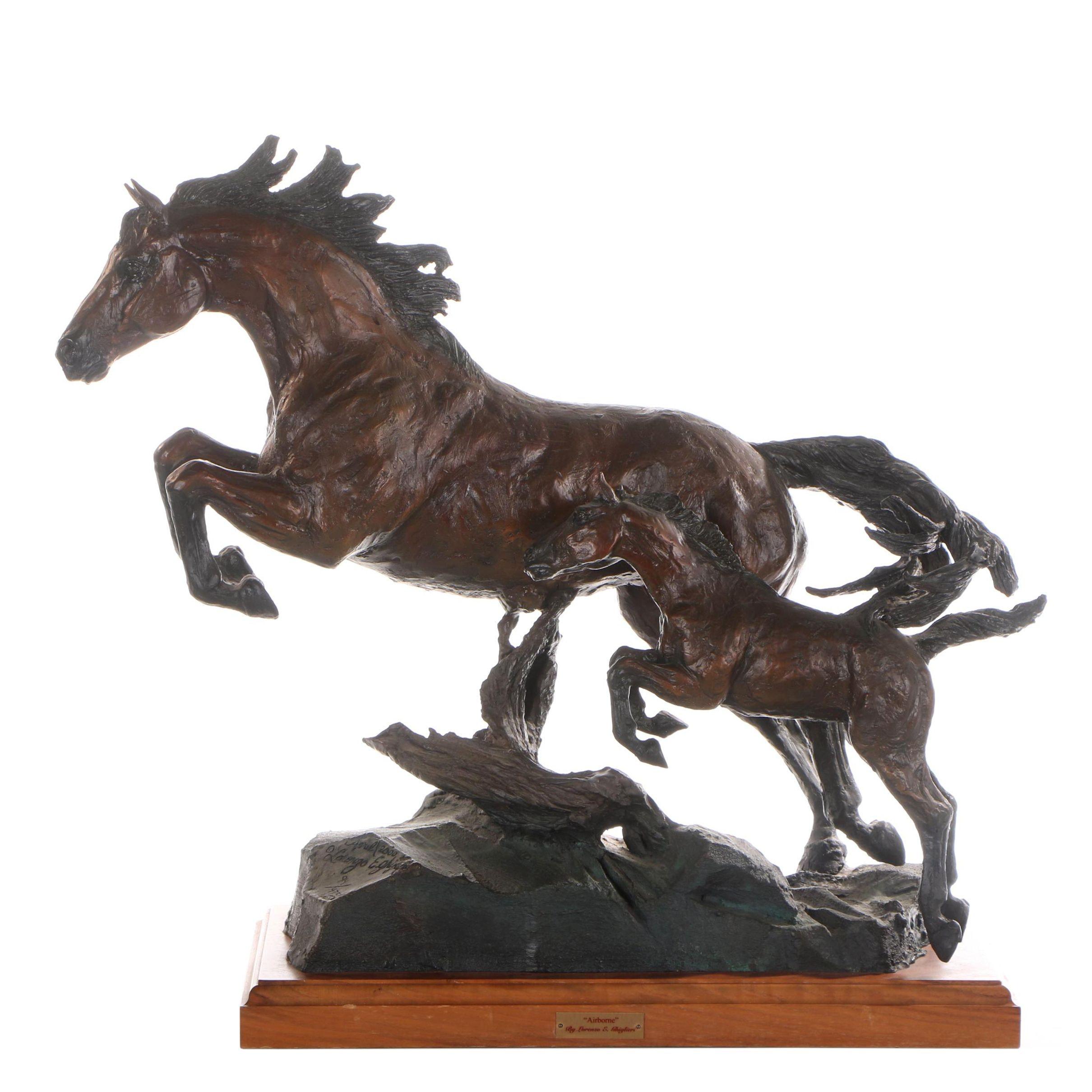 "Lorenzo E. Ghiglieri Bronze Sculpture ""Airborne"""