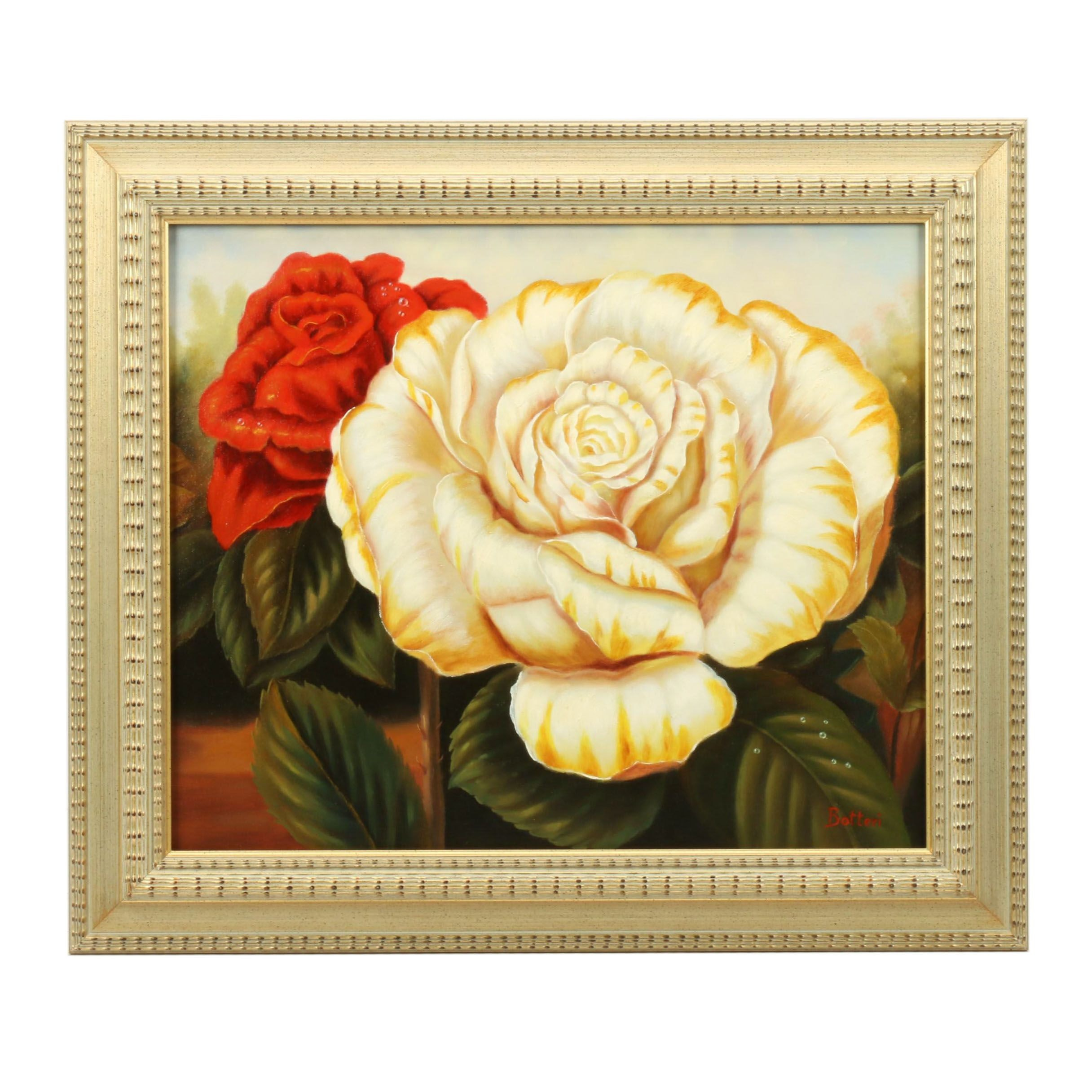 Botteri Oil Painting of a Floral Still Life